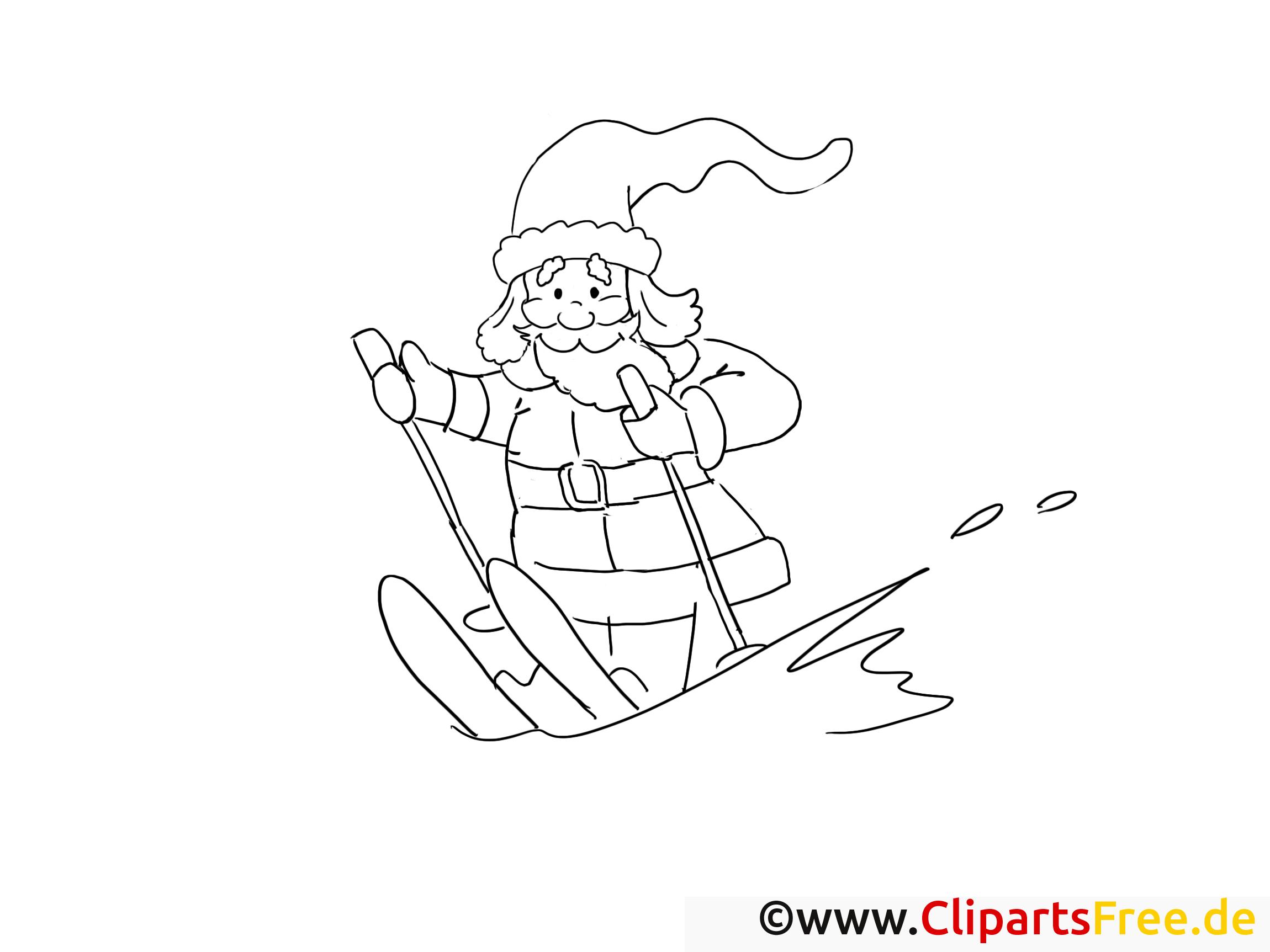 weihnachtsmann auf skiern ausmalbilder gratis für kinder