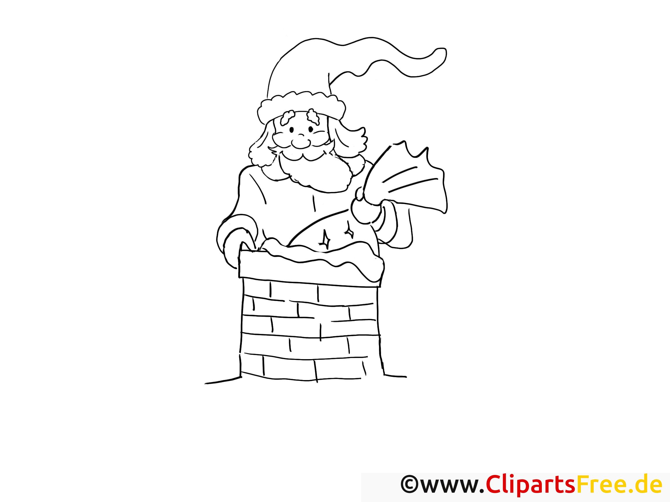 weihnachtsmann im schornstein ausmalbilder gratis für kinder
