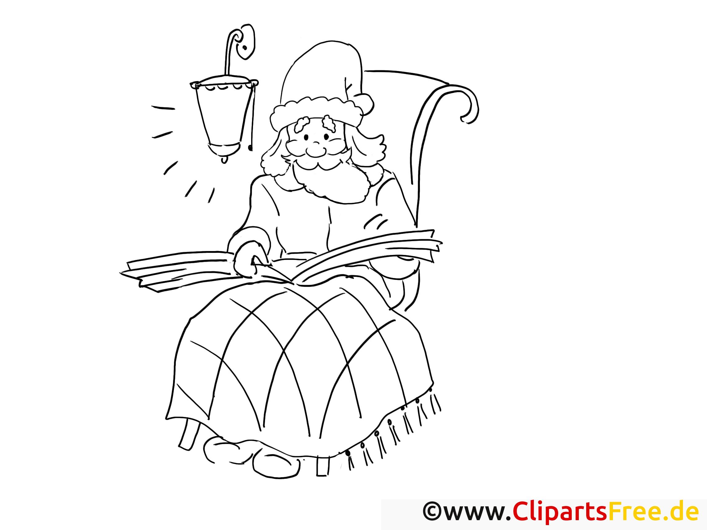 weihnachtsmann liest buch ausmalbilder gratis für kinder