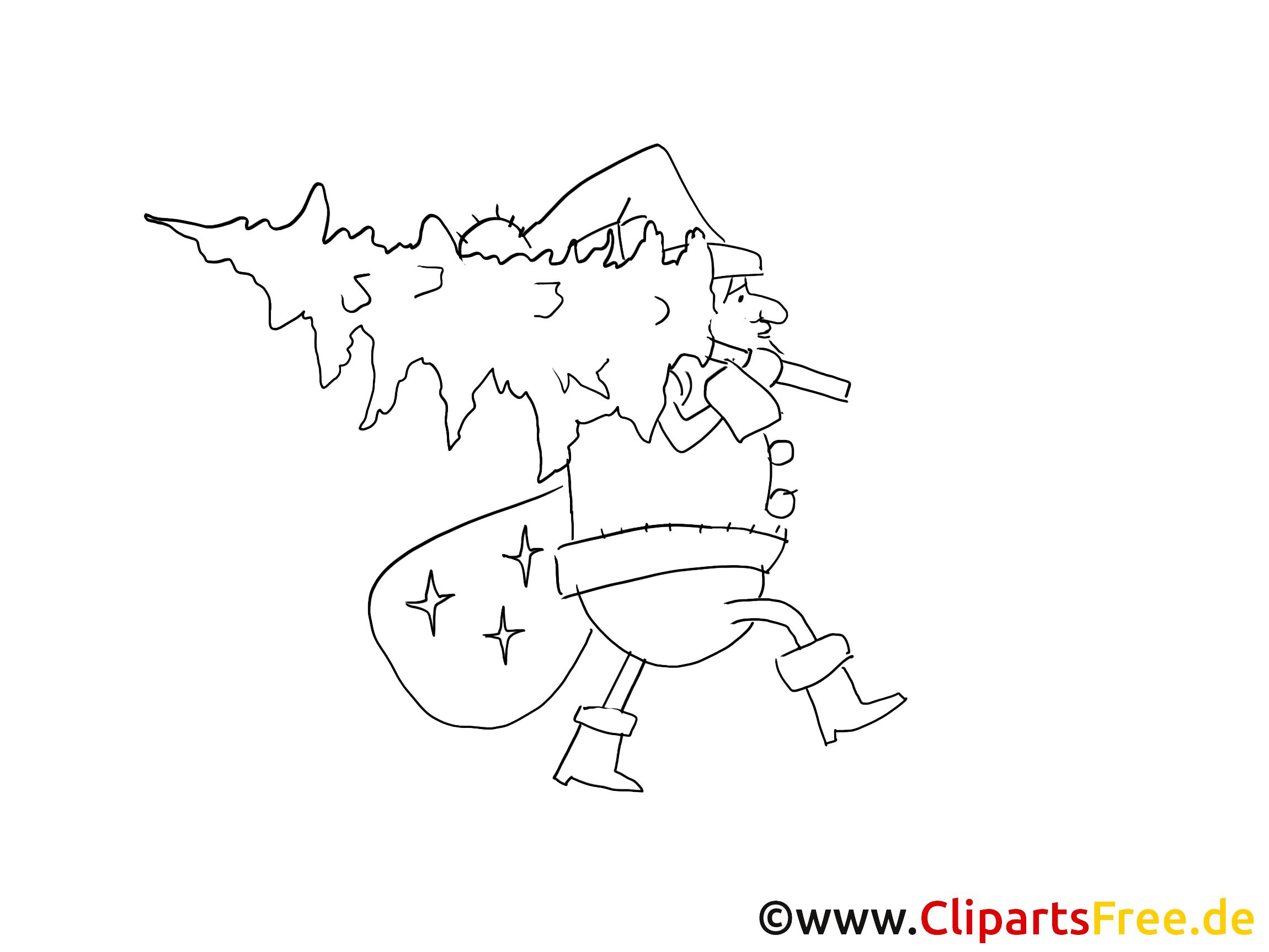 weihnachtsmann mit tannenbaum ausmalbild
