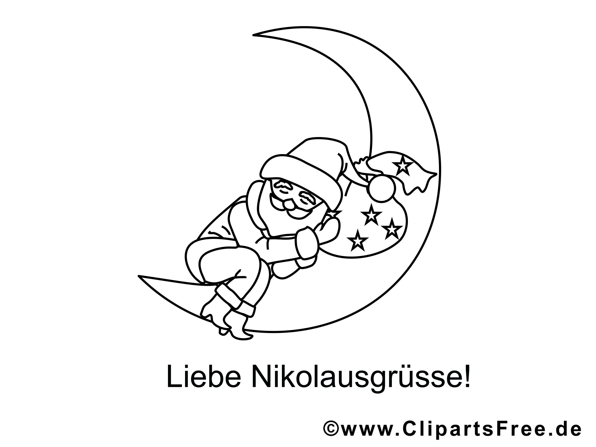 Weihnachtsmann schläft auf dem Mond Ausmalbilder gratis