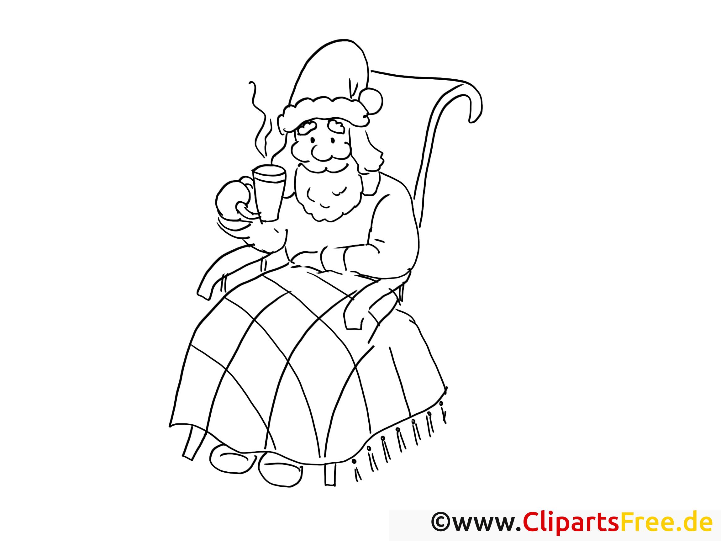 weihnachtsmann trinkt tee ausmalbilder gratis für kinder