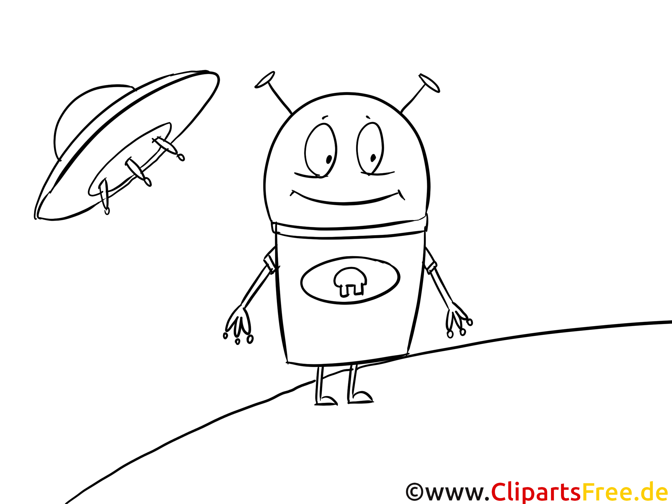 Cartoon Alien Bild zum Ausmalen