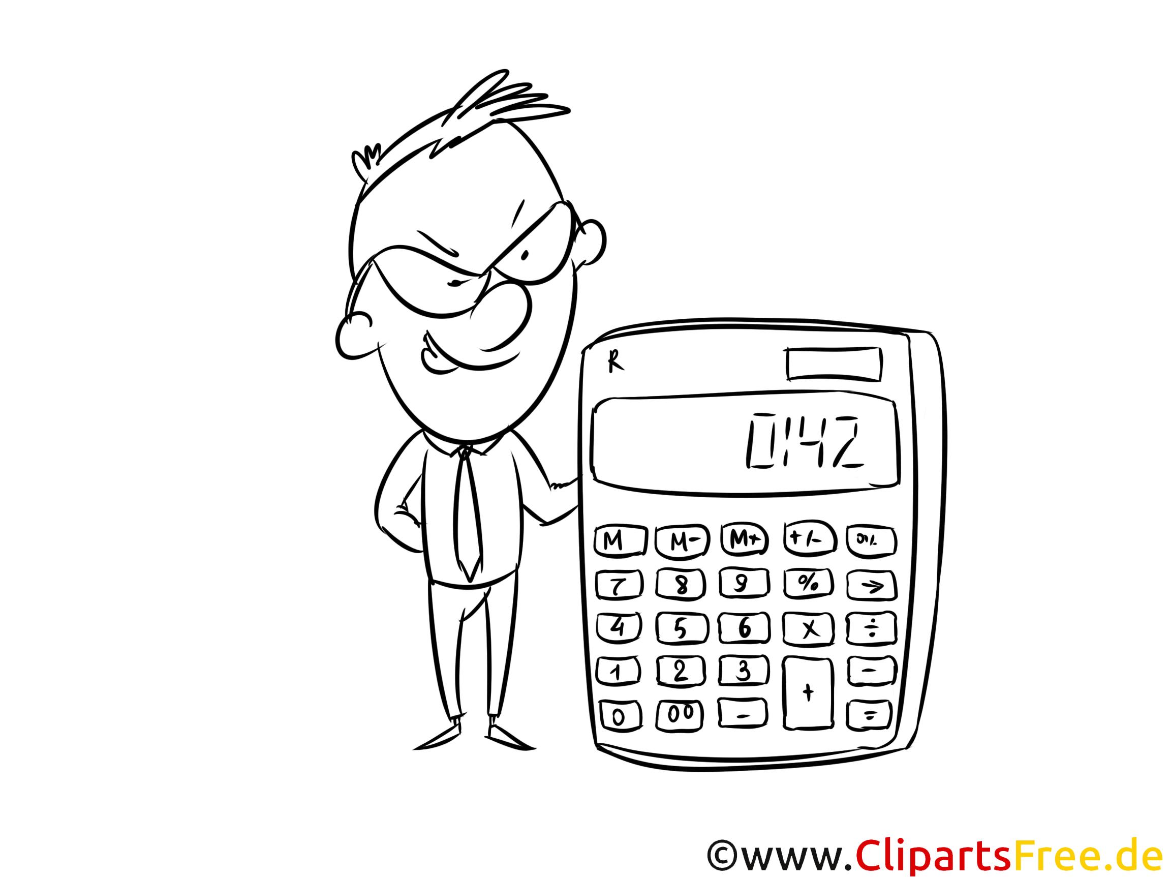 Malvorlage Mann mit Taschenrechner