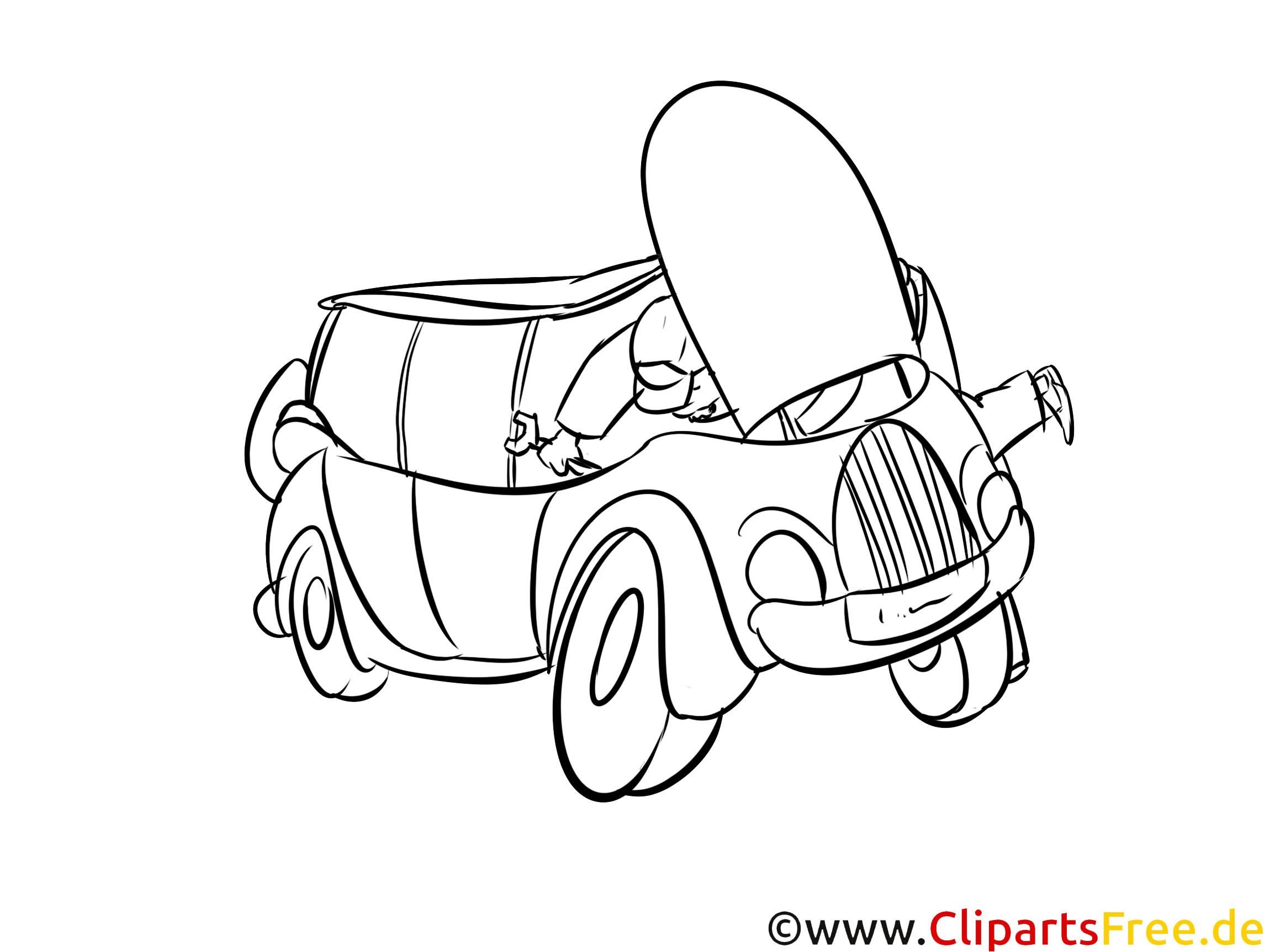 Ausmalbild Auto Reparatur kostenlos
