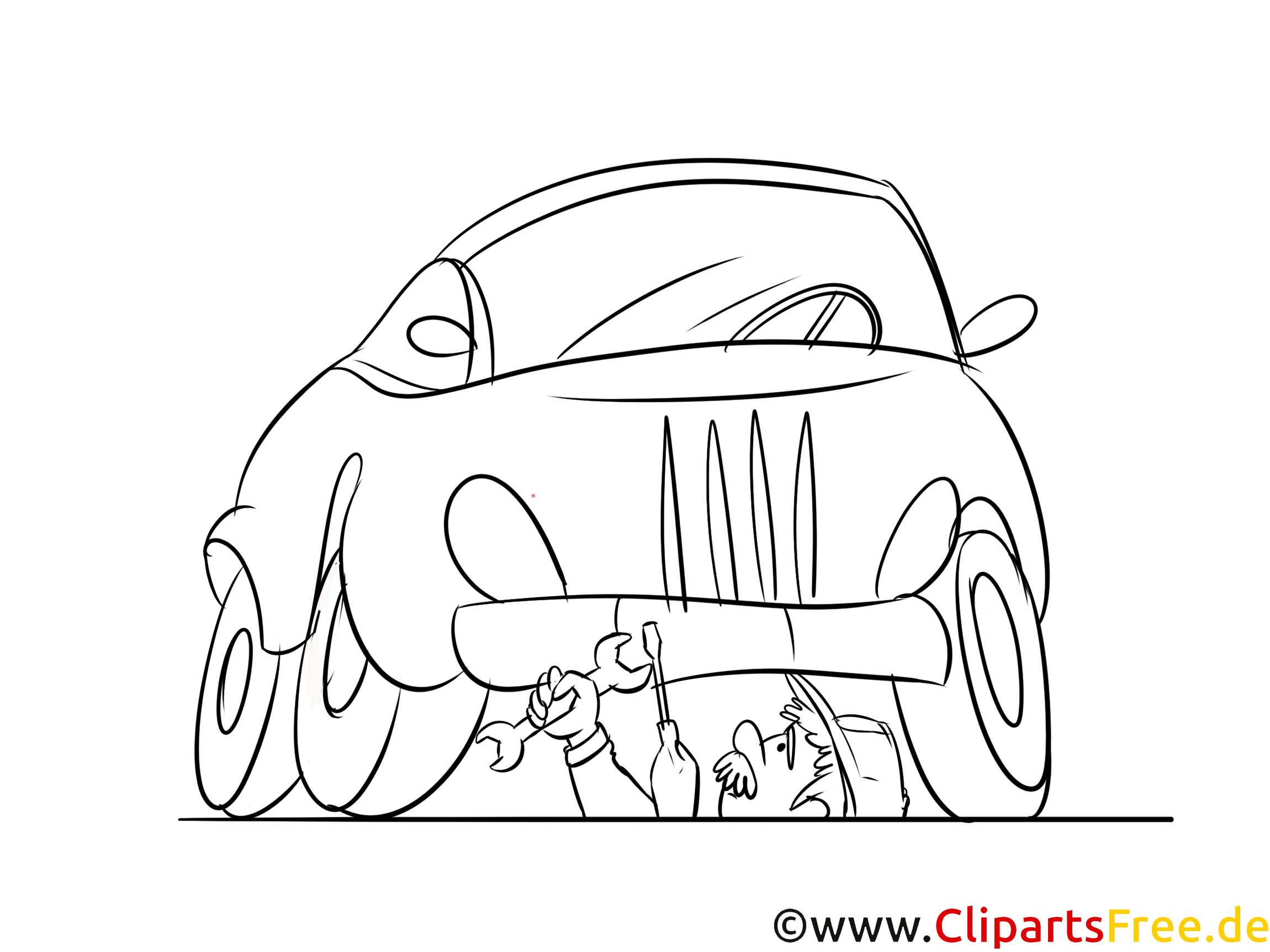 Autoreparatur Ausmalbild kostenlos