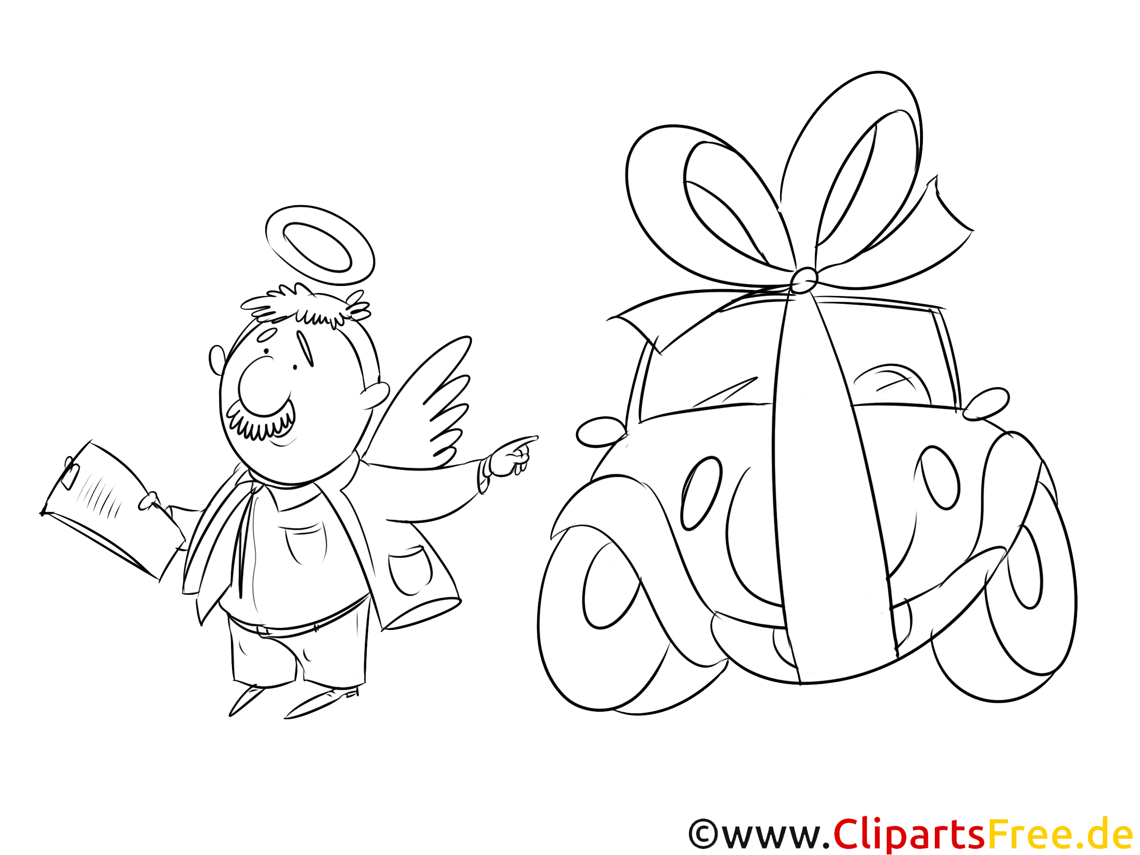Autoverkäufer Ausmalbild, Bild, Grafik, Illustration