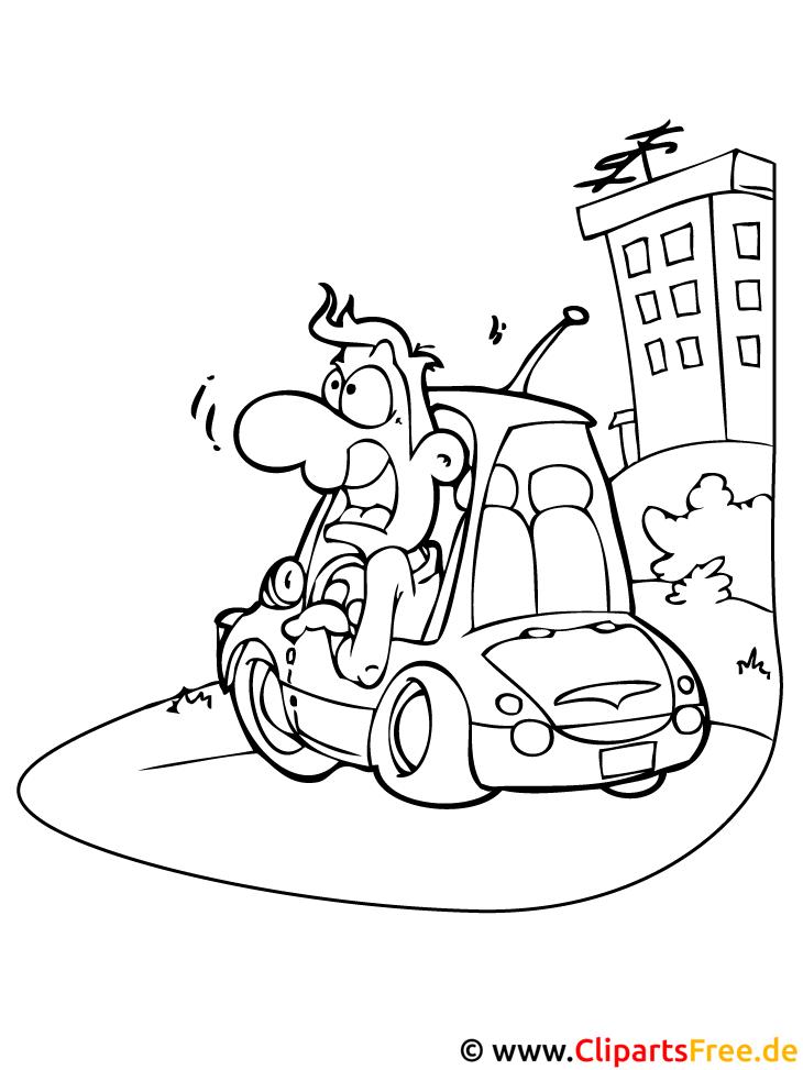 Cartoon Auto Ausmalbild