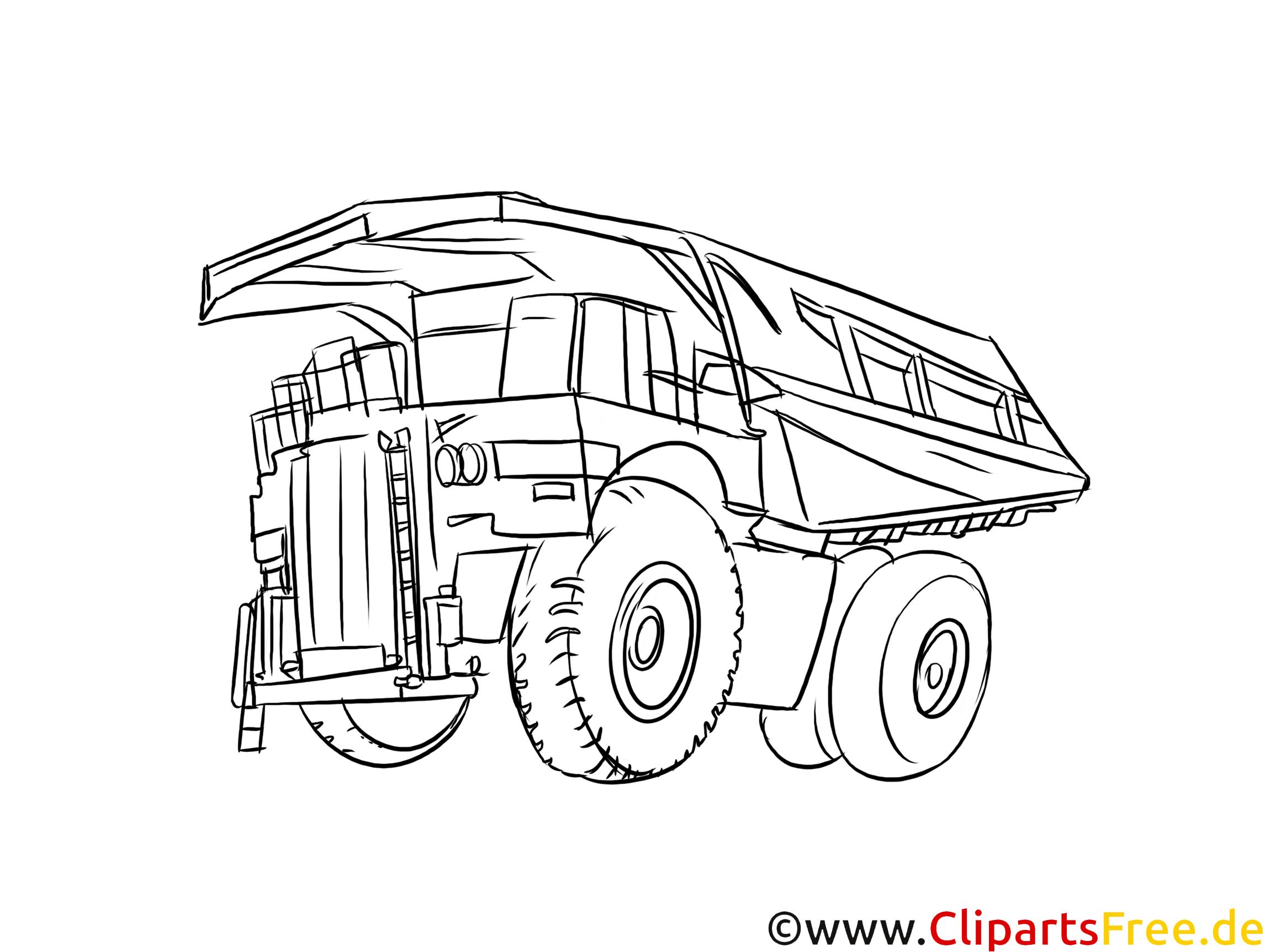 Minenfahrzeug, LKW, Kipper Bild schwarz-weiß, Vorlage zum Ausmalen