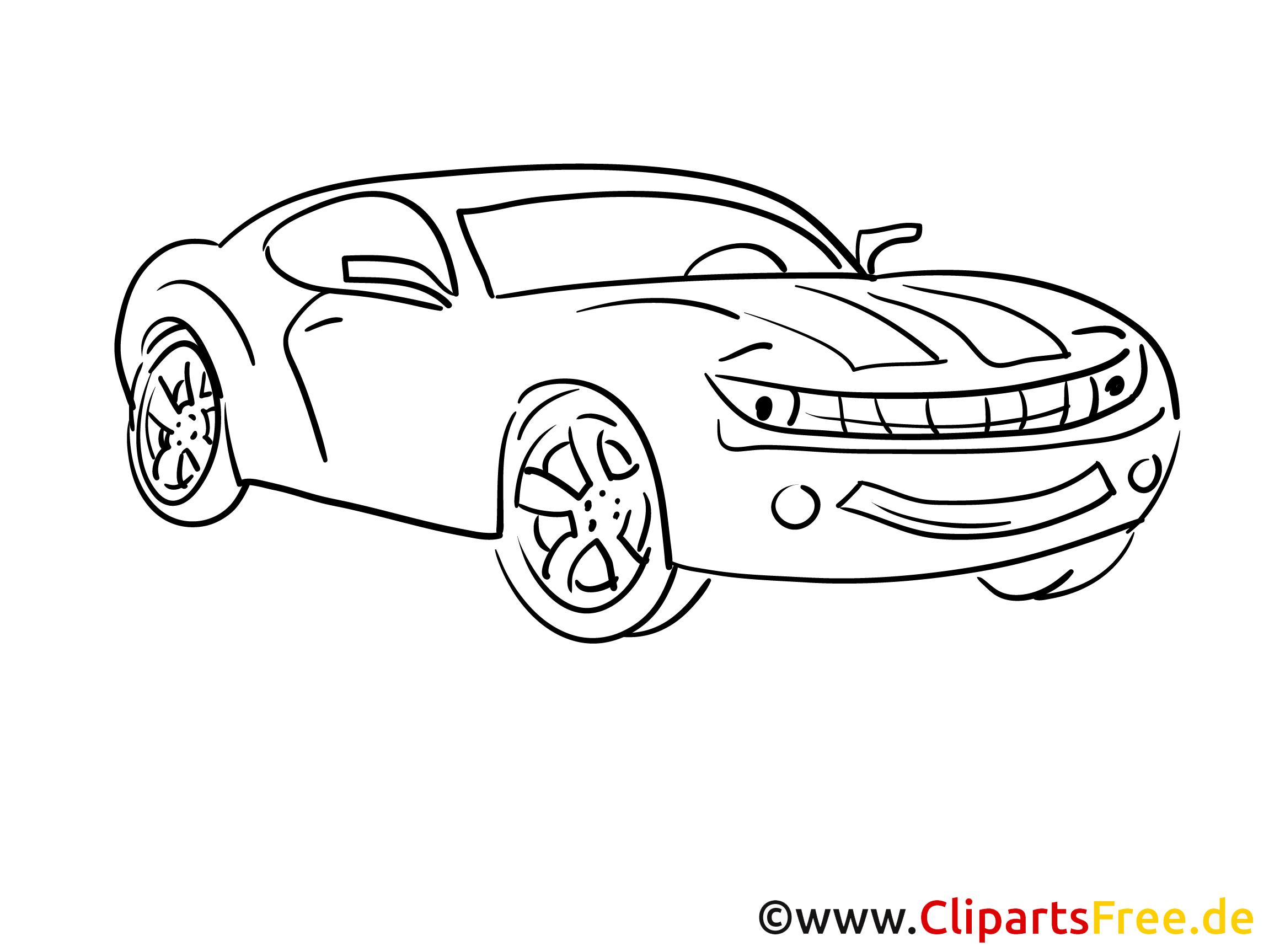 Sport-Auto Ausmalbild Fahrzeug gratis