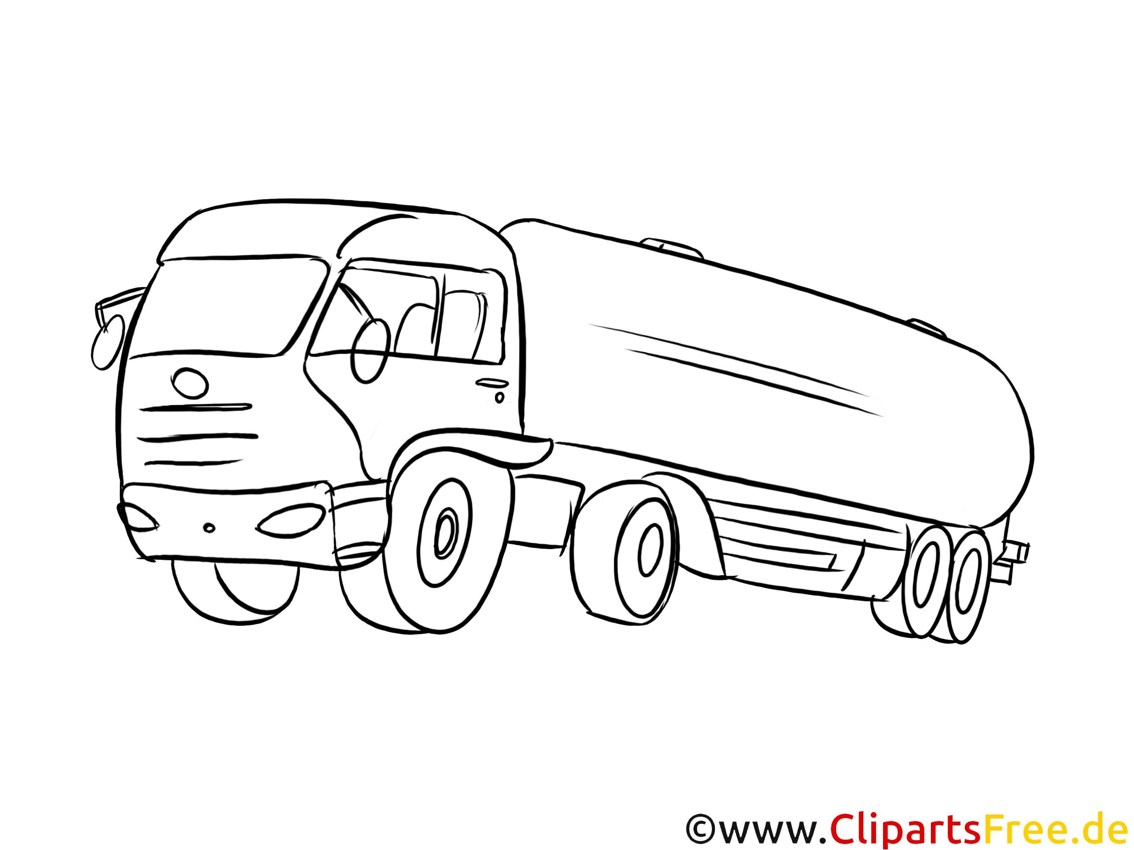 Tank, LKW Bild schwarz-weiß, Vorlage zum Ausmalen