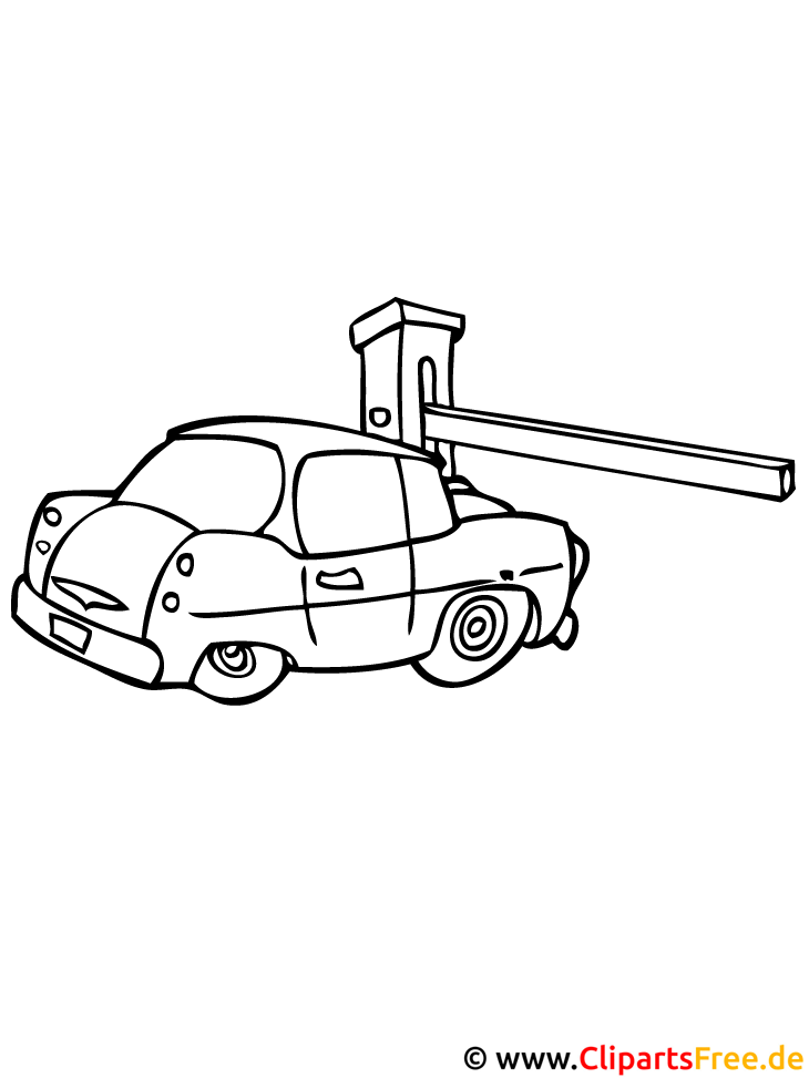 Wagen Ausmalbild Schlagbaum