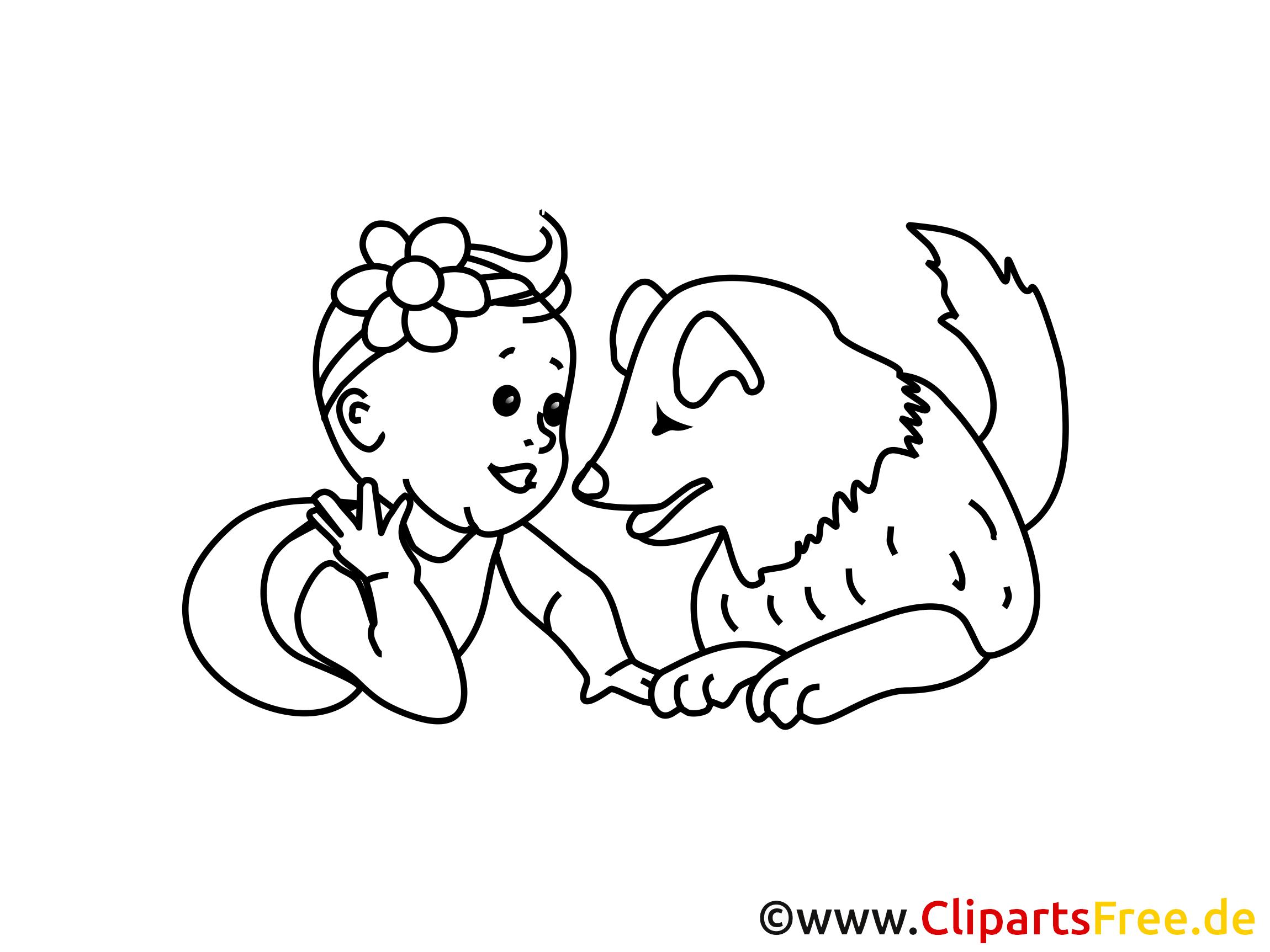 Gratis Malvorlage Mädchen und Hund
