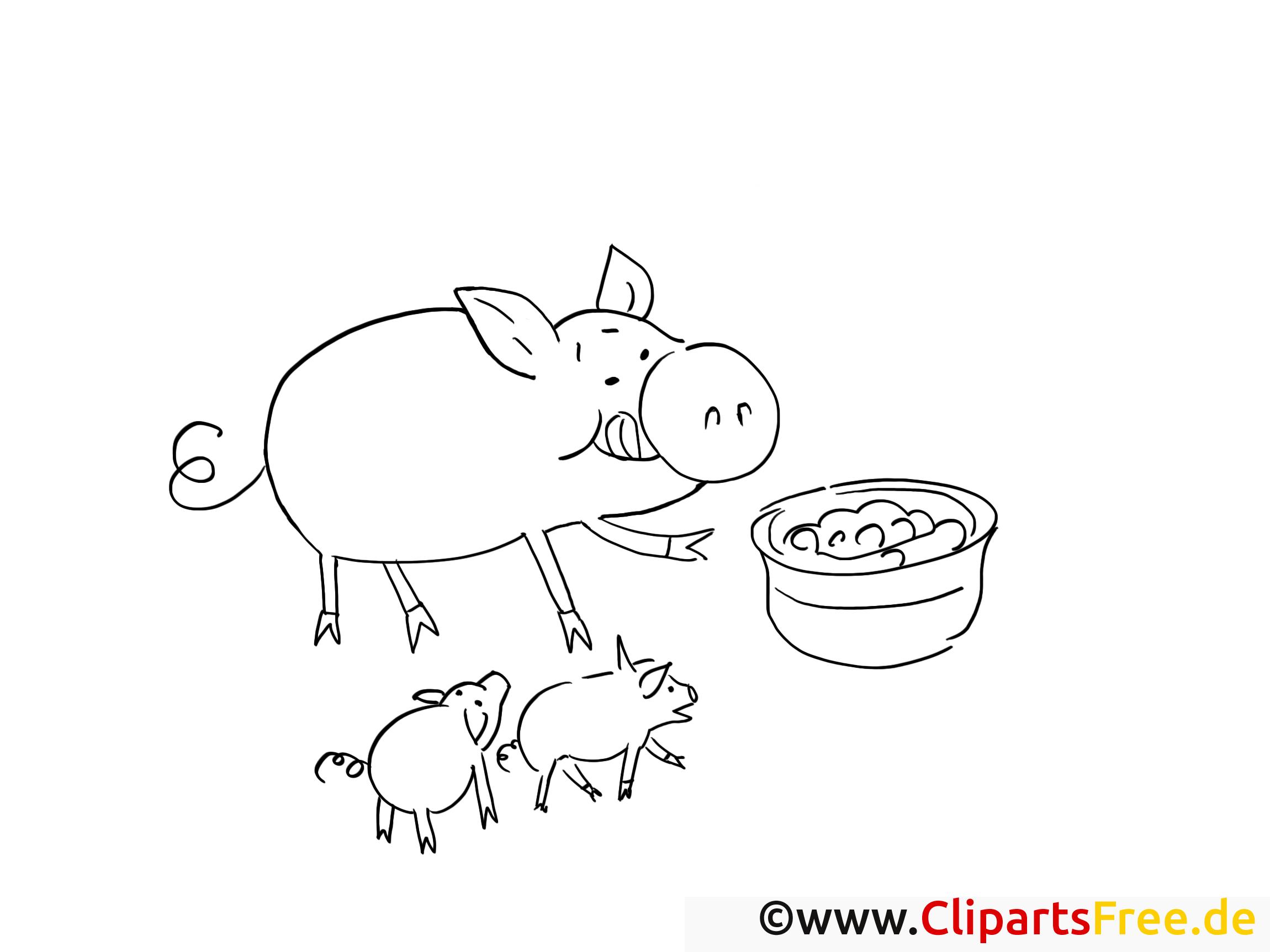 Ausmalbilder kostenlos zum Thema Bauernhof - Schwein