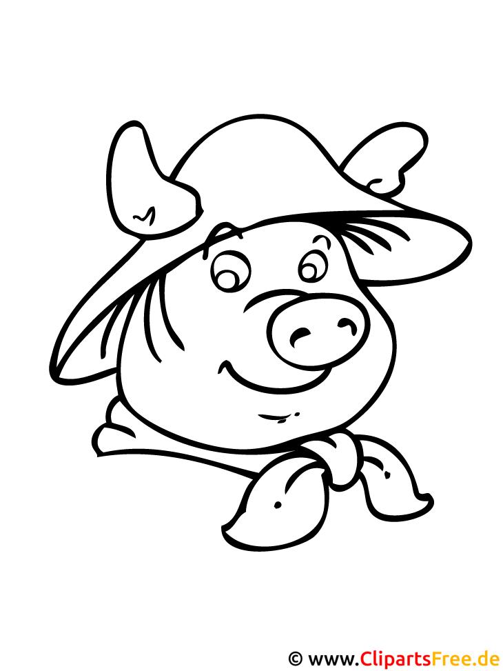 Cartoon Schweinchen Malvorlage Bauernhof