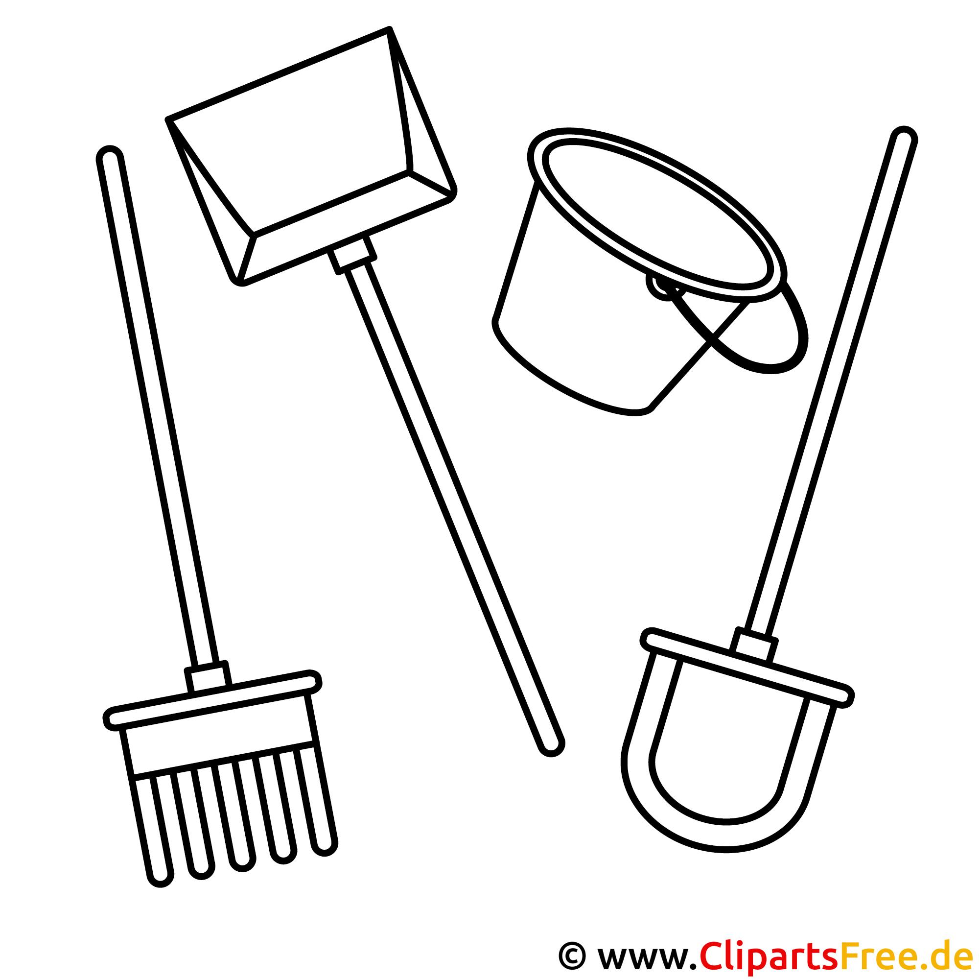 Gartenwerkzeuge Bild zum Ausmalen, Malvorlage