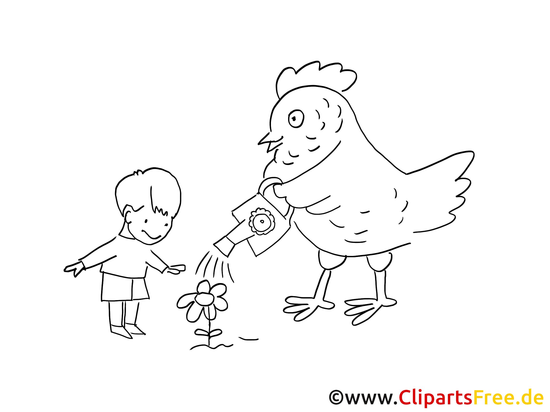 Henne und Kind Malvorlage gratis