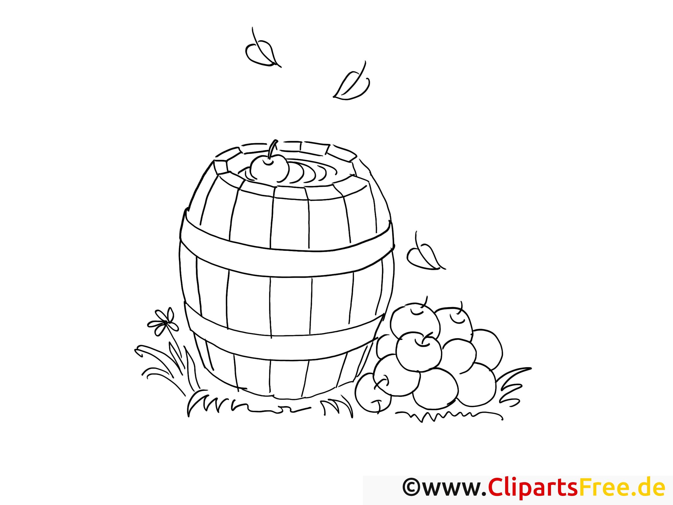 Kostenlose Ausmalvorlage Bauernhof Regentonne und Äpfel