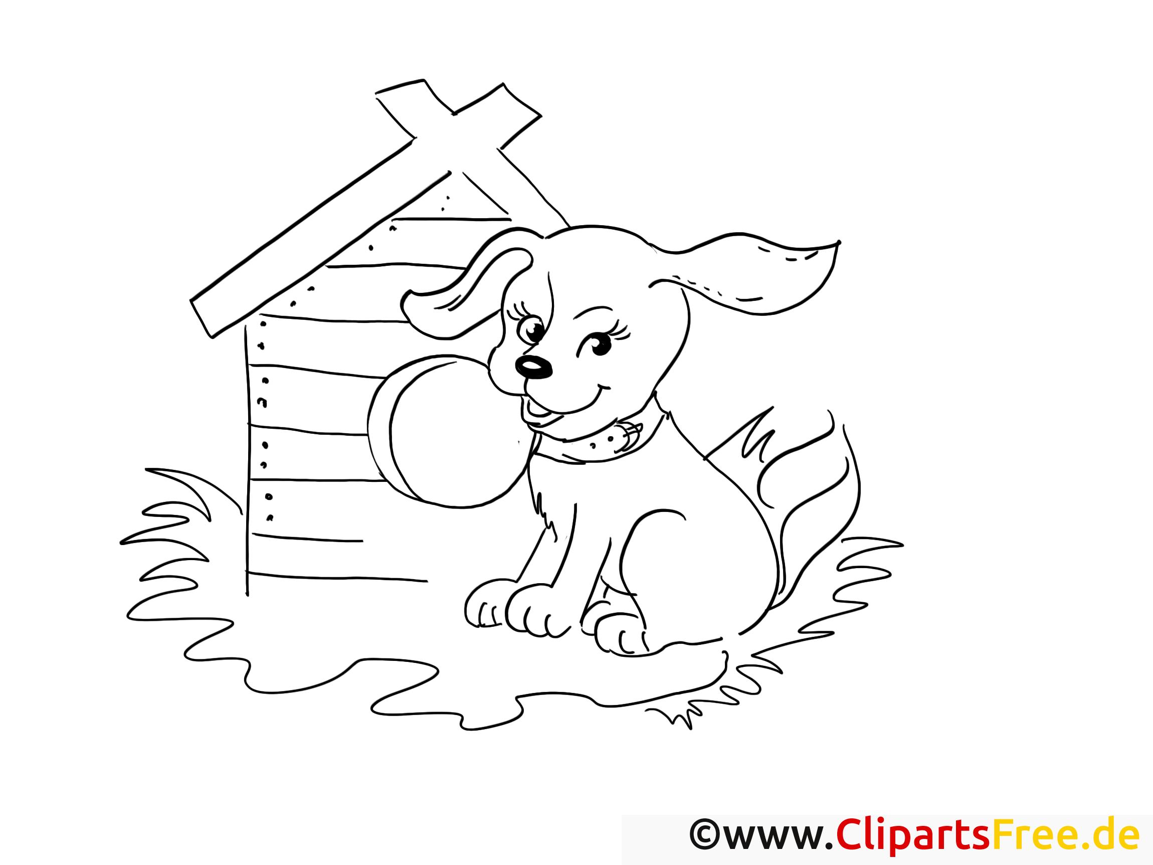 Kostenlose Ausmalvorlage Hund auf dem Hof