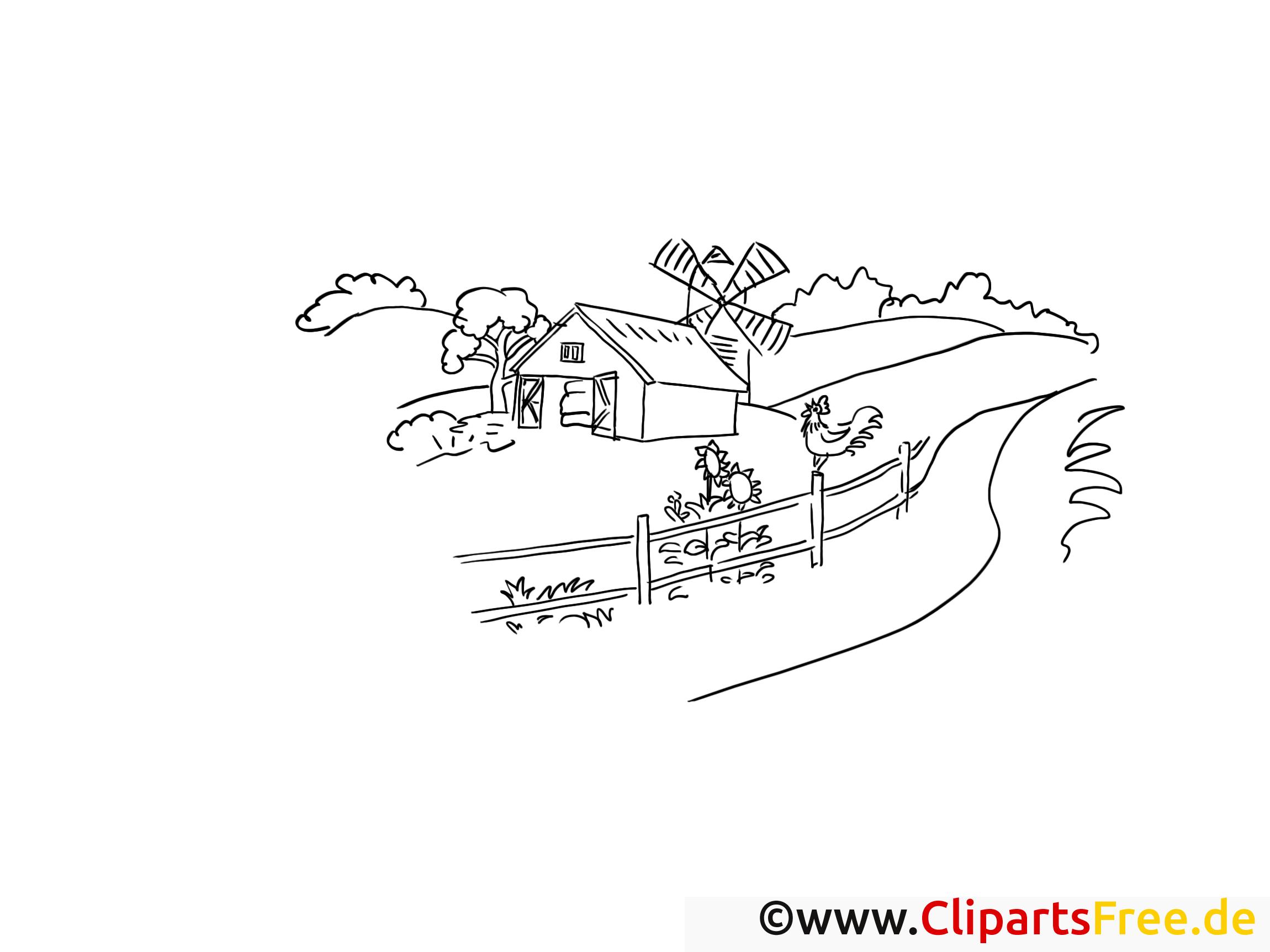 Malvorlagen Bauernhof und Mühle