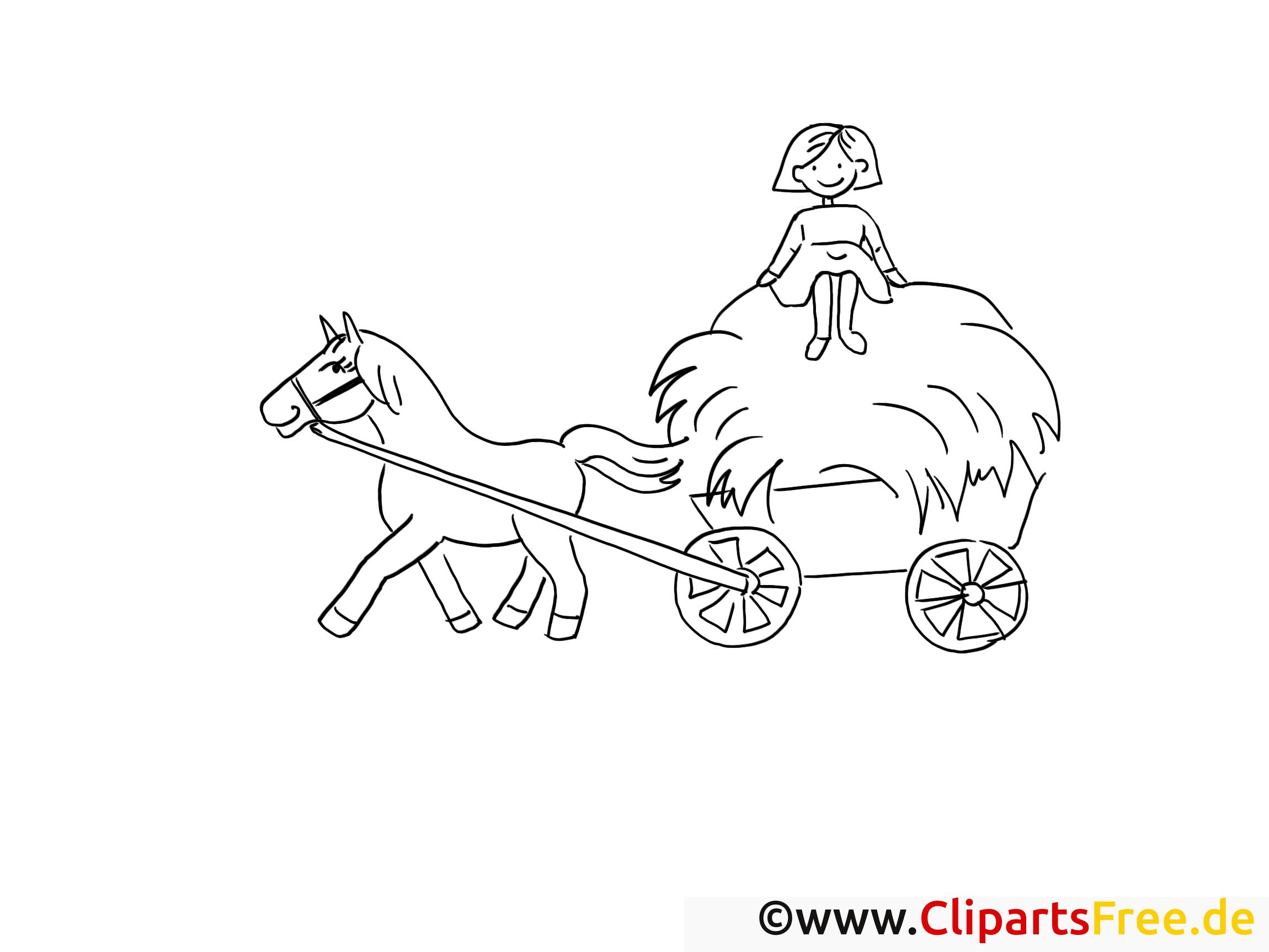 Pferd und Wagen angespannt Bild-Malvorlage zum Ausmalen