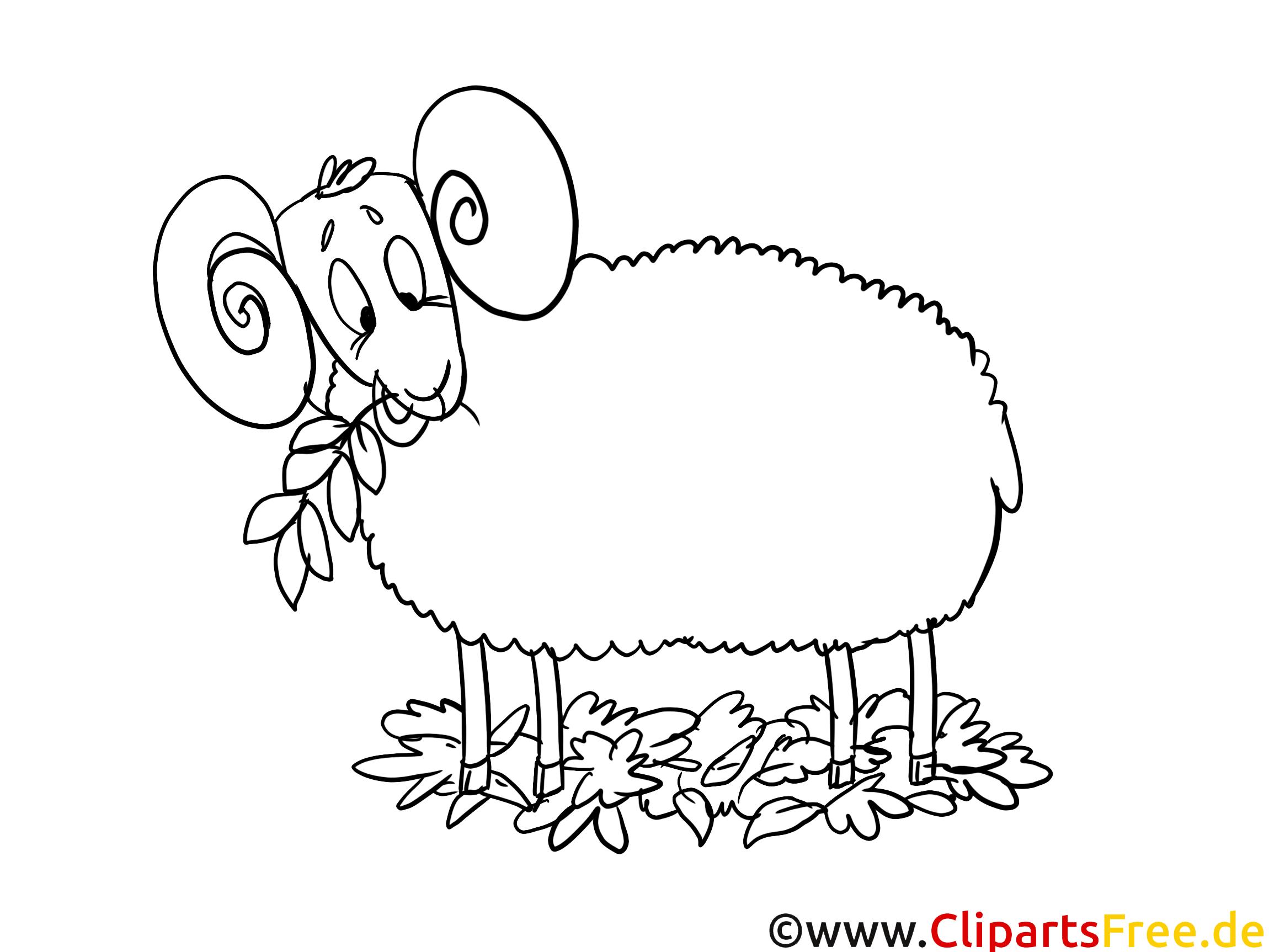 Schaf Bild-Malvorlage - Gratismalvorlagen zum Thema Herbst