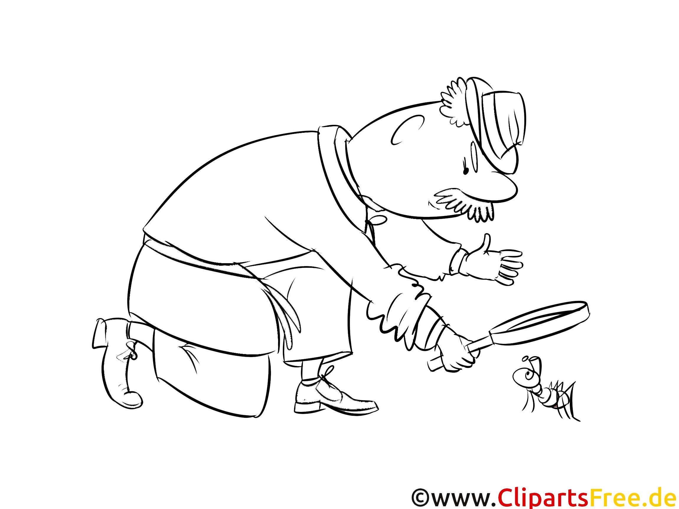 ameise detektiv bild clipart illustration zum ausmalen