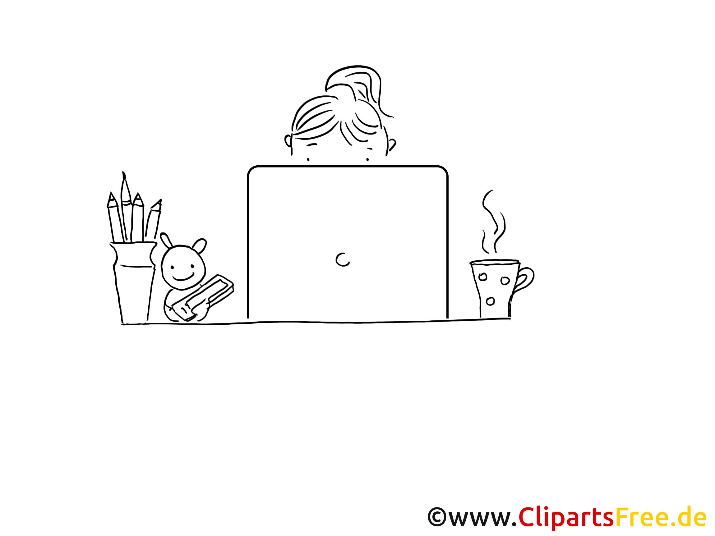 Arbeit am PC Ausmalbild zum Drucken und Ausmalen