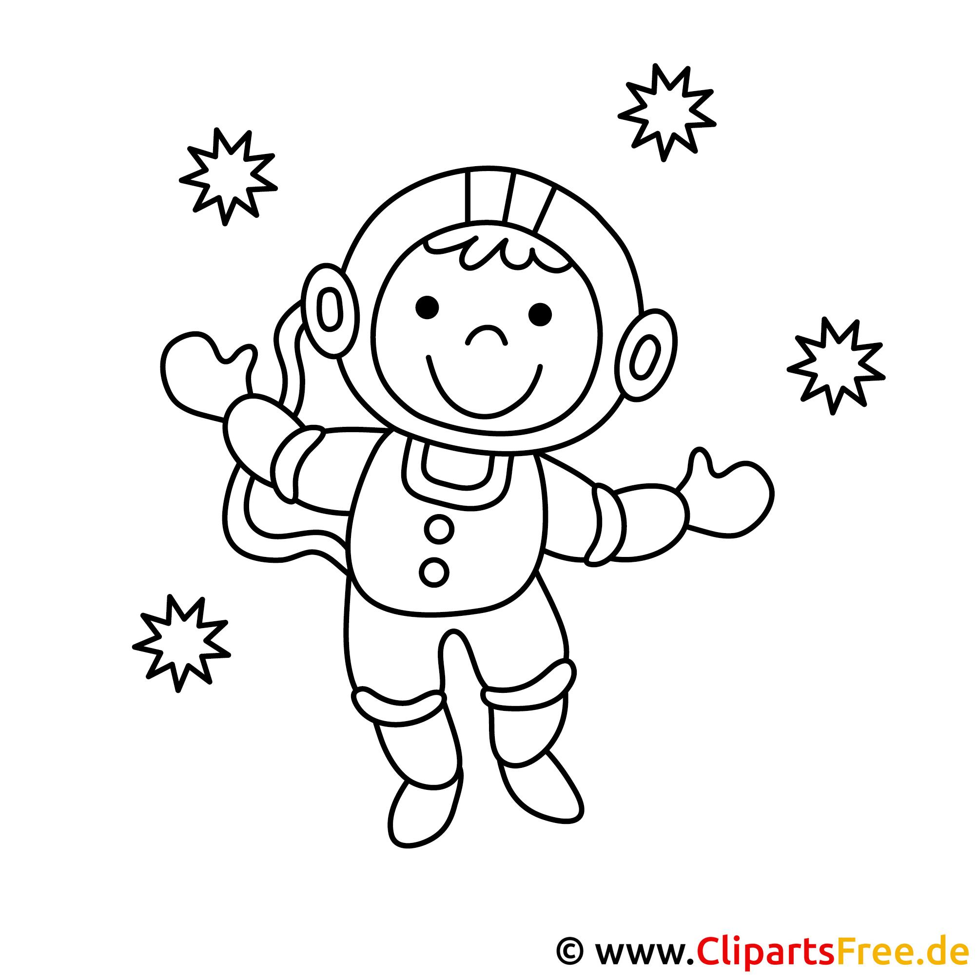 Astronaut Bild zum Ausmalen, Malvorlage
