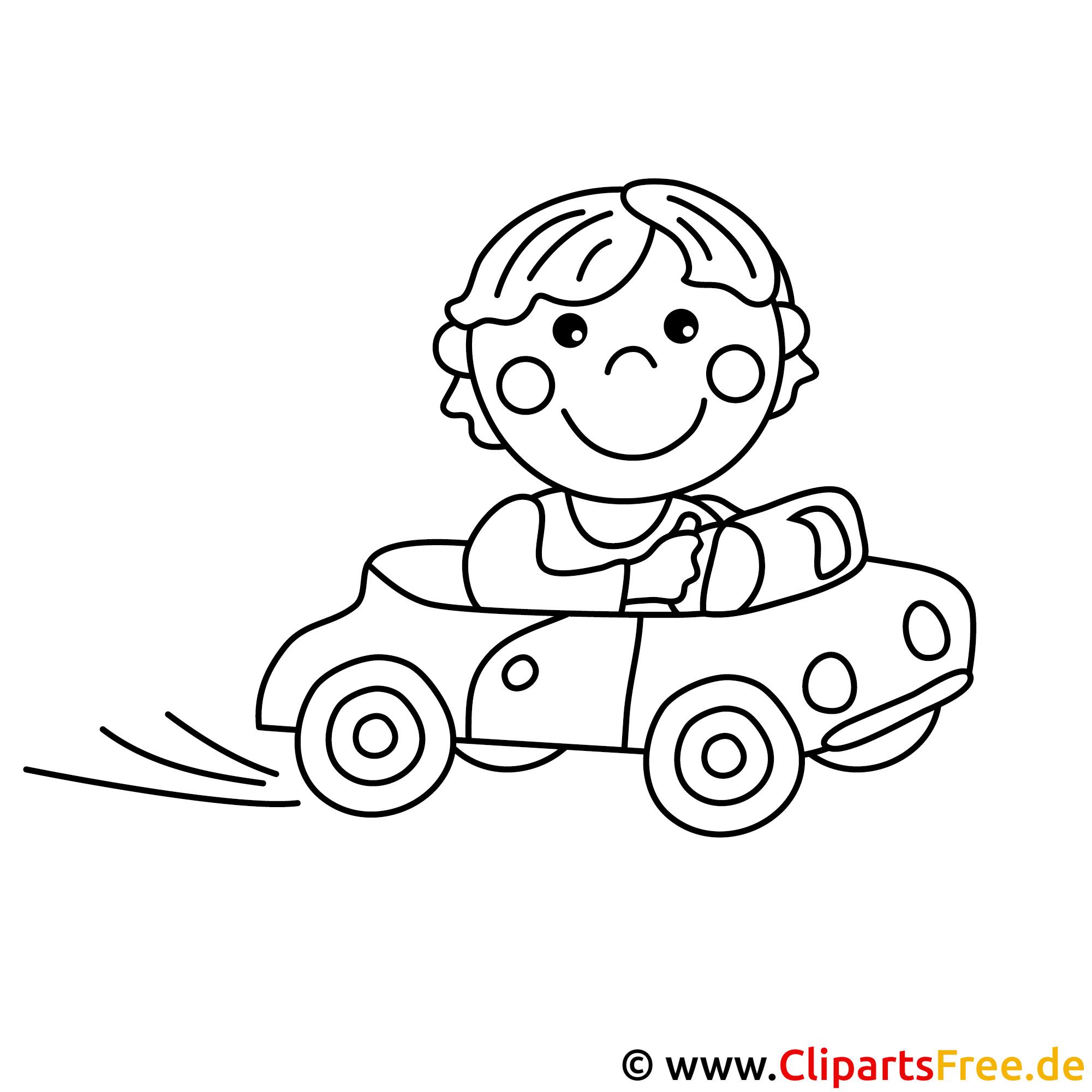 Autofahrer Bild zum Ausmalen, Malvorlage