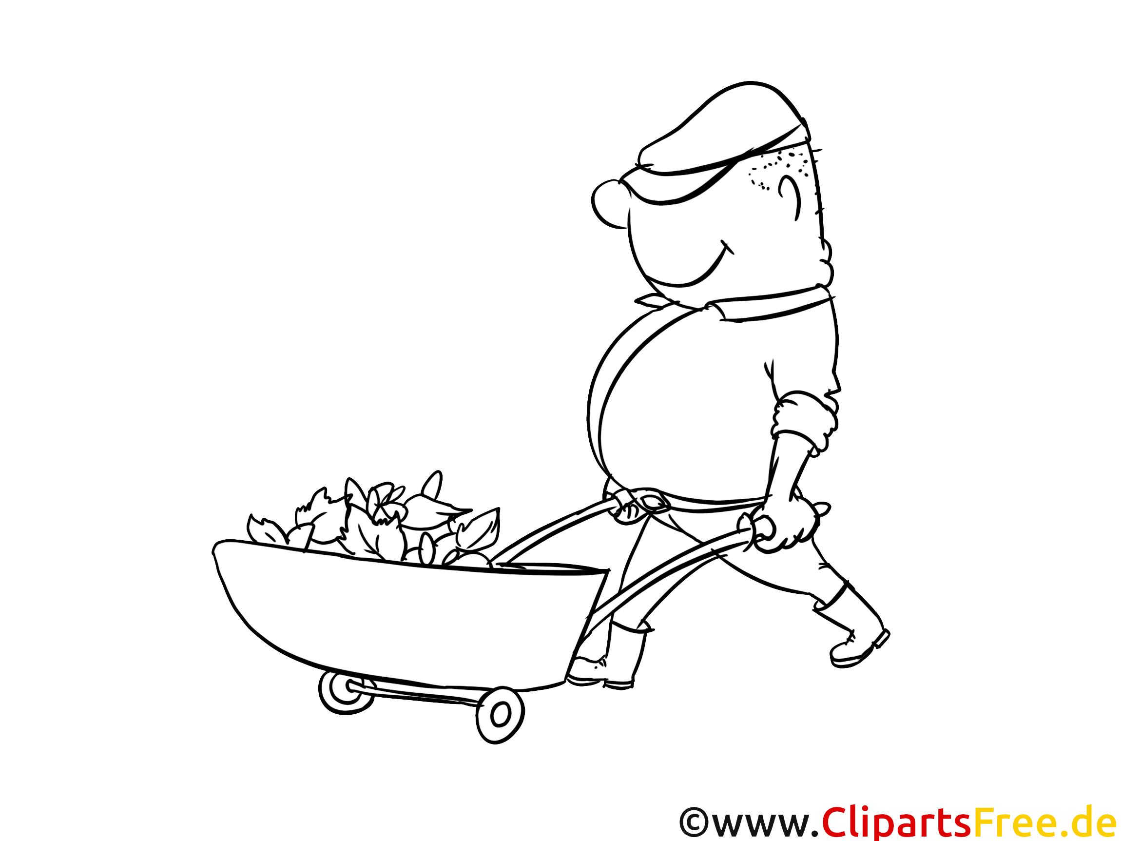 Bauarbeiter mit Schubkarre - Malvorlagen für Kinder