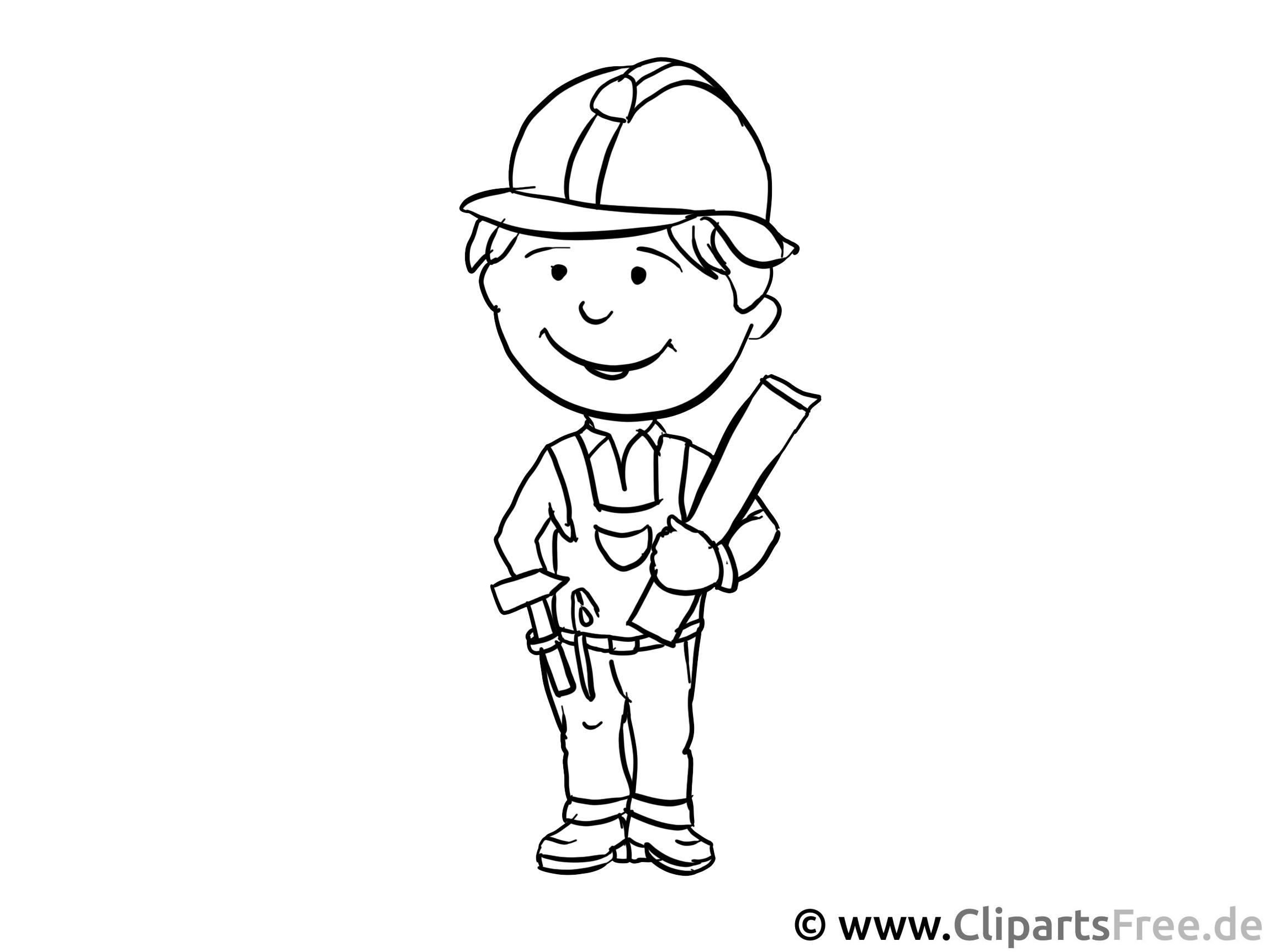 Baustellenleiter, Ingenieur Ausmalbild - Arbeitsblätter und Malvorlagen Berufe