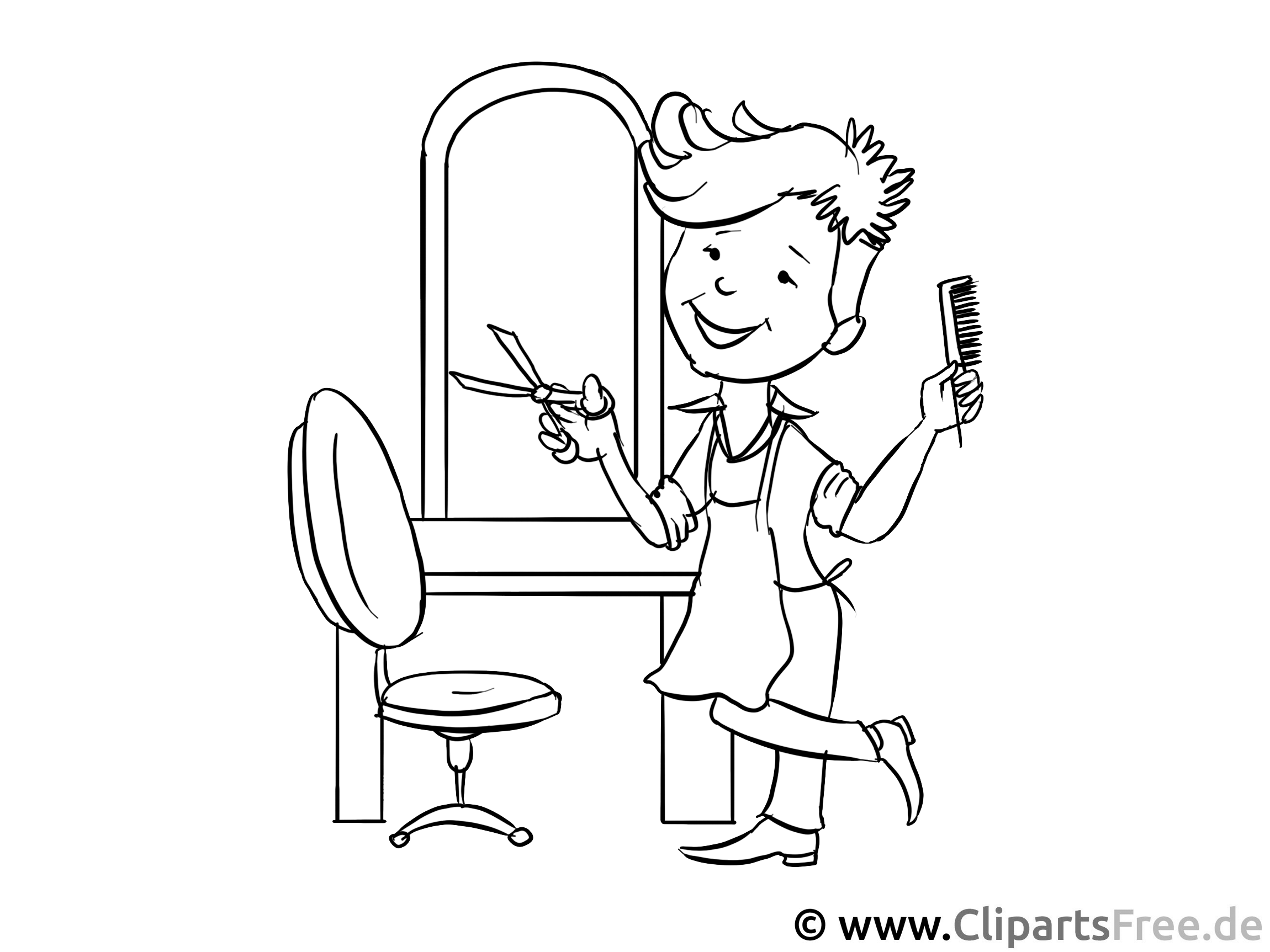 friseur ausmalbild - arbeitsblätter und malvorlagen berufe