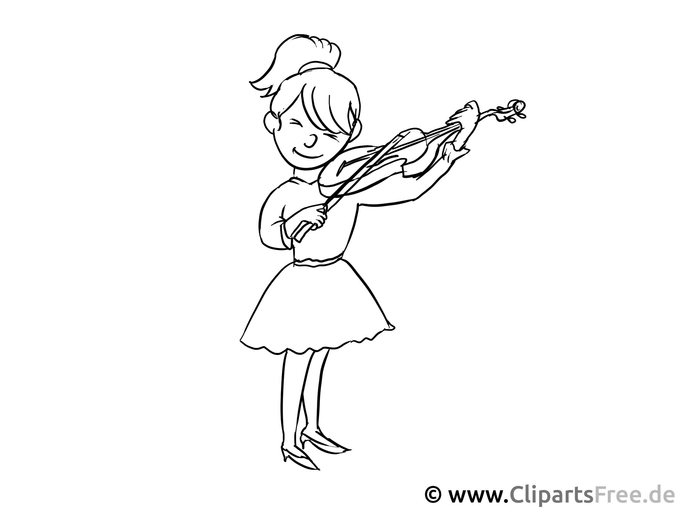Geigespielerin Malvorlage - Berufe Ausmalbilder für den Unterricht