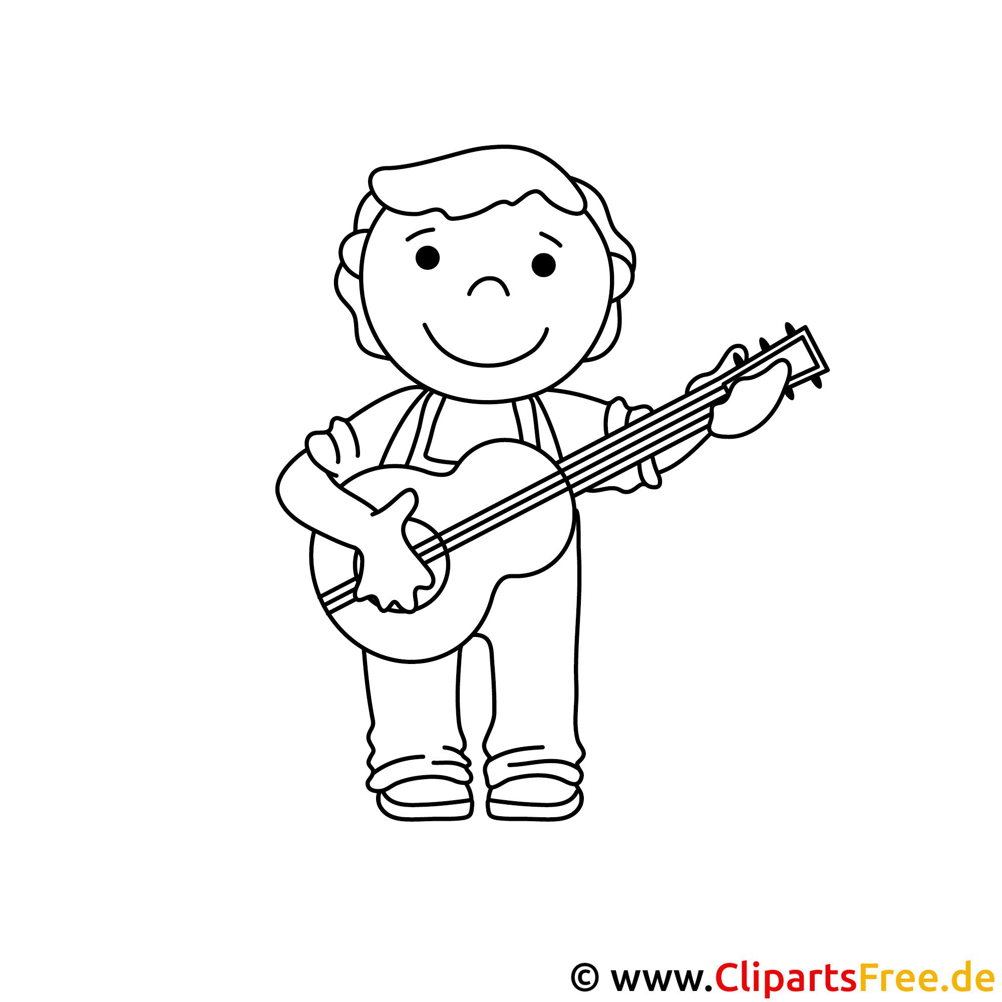 Gitarre spielen Bild zum Ausmalen, Malvorlage