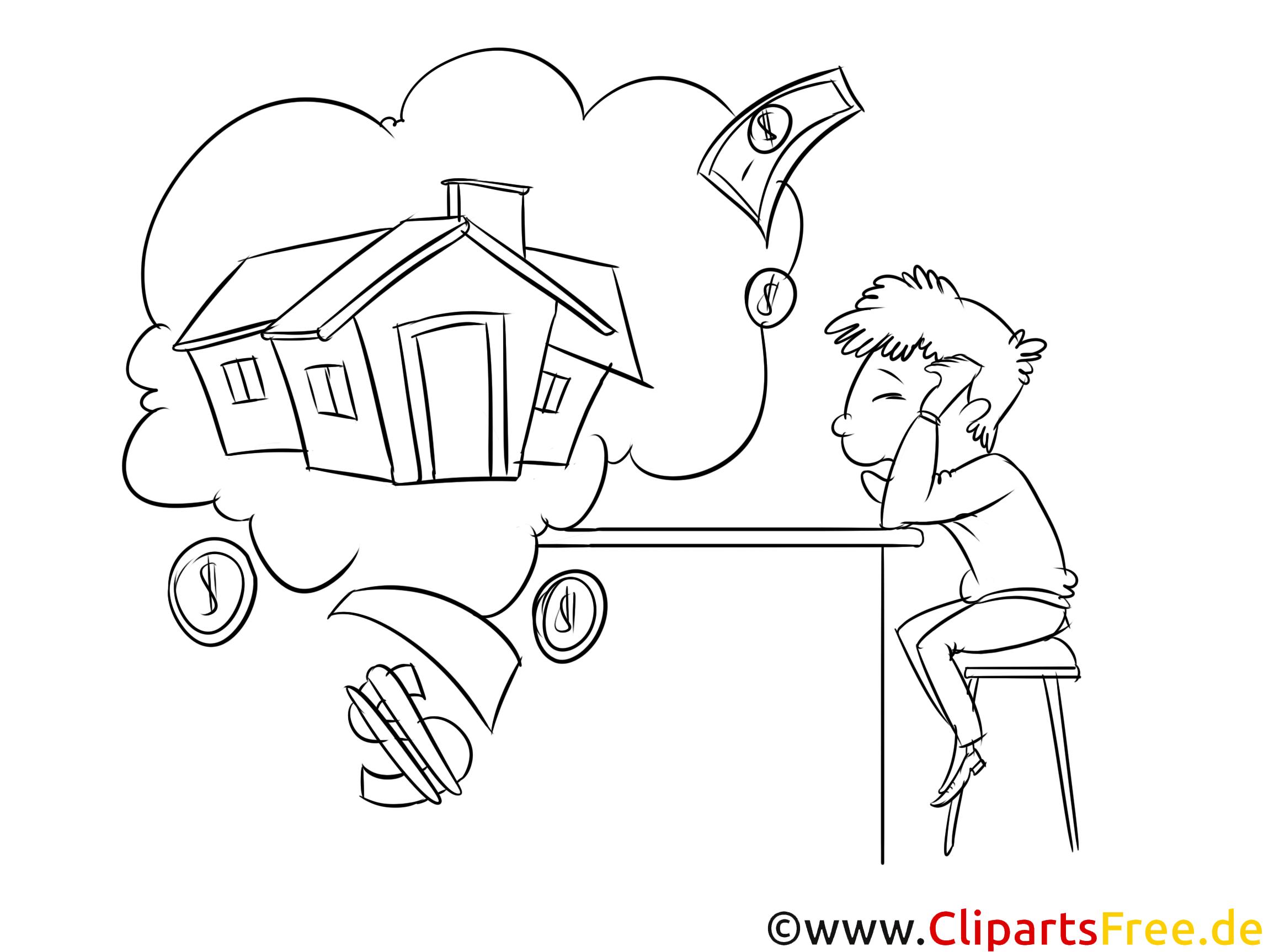 Hauskredit Bild schwarz-weiß Clipart, Vorlage zum Ausmalen
