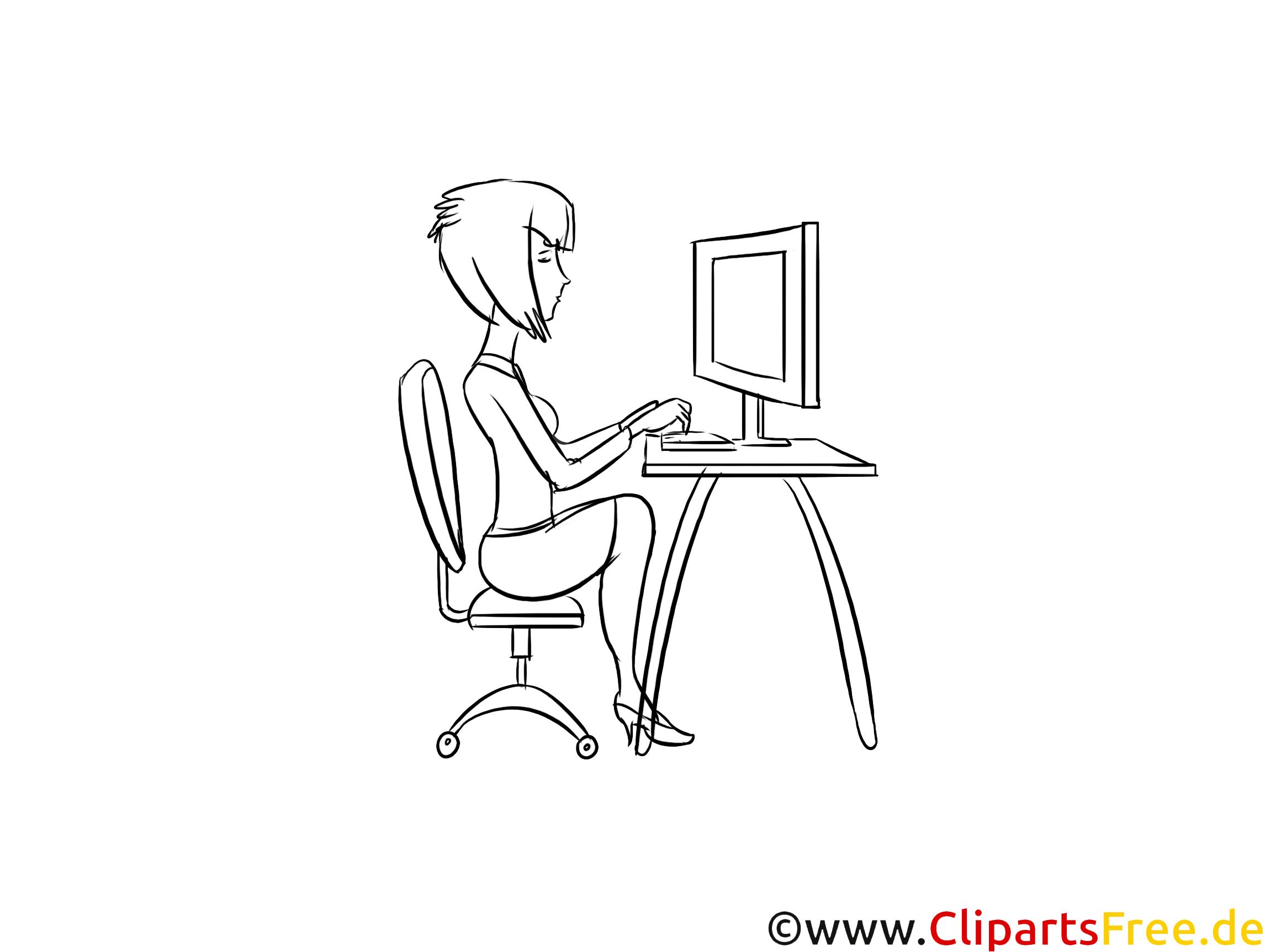 Ergonomie am Arbeitsplatz Bild schwarz-weiss zum Ausmalen, Drucken