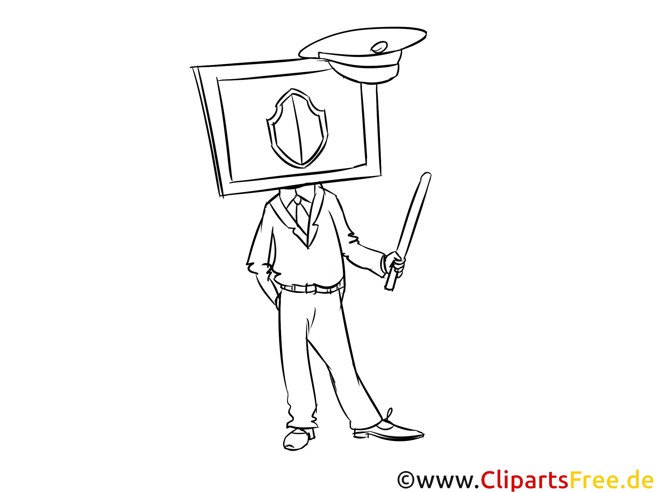 IT-Sicherheit Bild, Clipart, Illustration schwarz-weiß zum Ausmalen