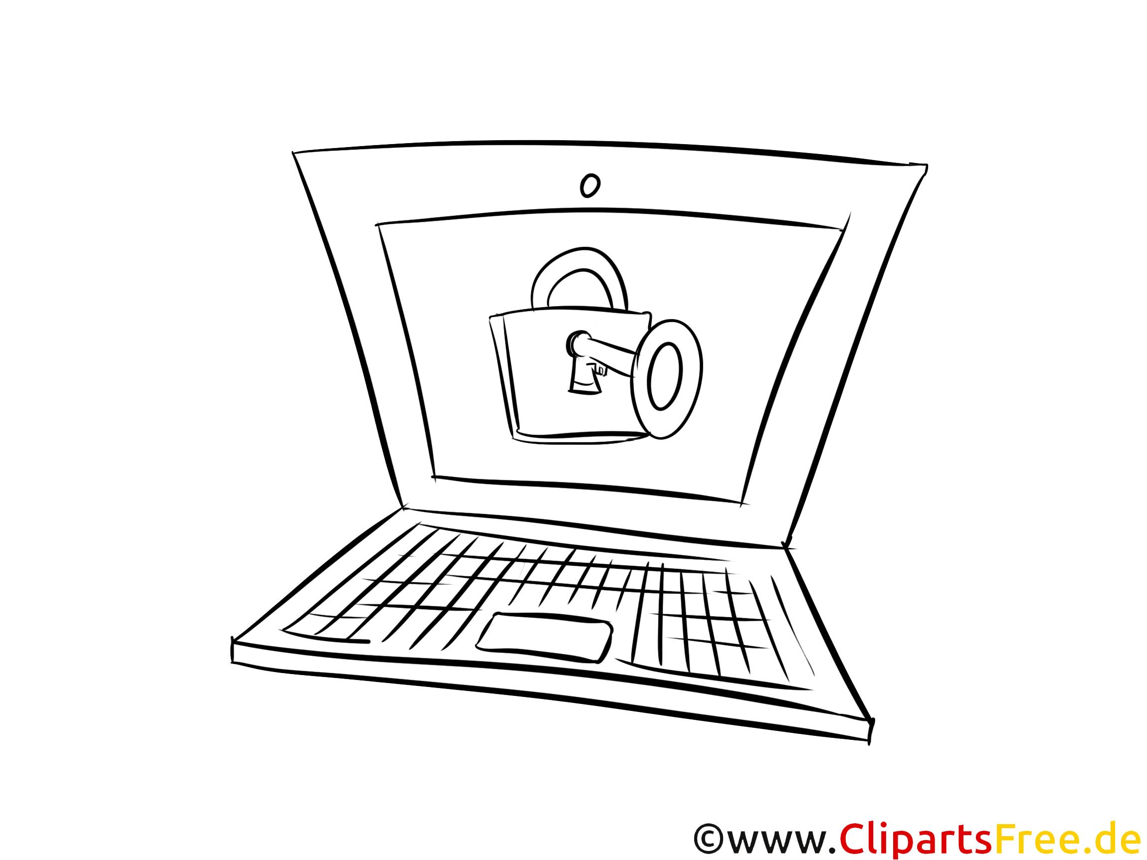 Laptop, Computer Bild schwarz-weiß zum Drucken, Ausmalen