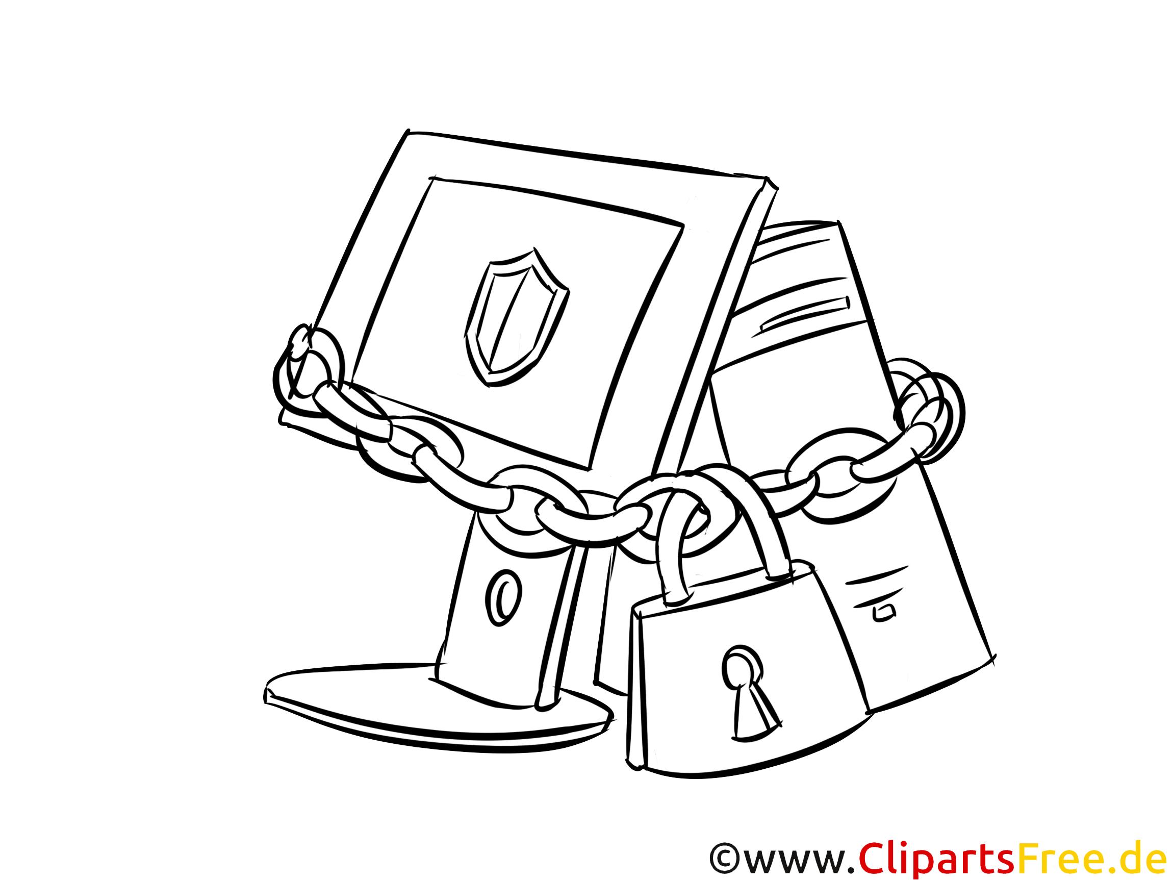 PC-Sicherheit Bild, Clipart, Illustration schwarz-weiß zum Ausmalen