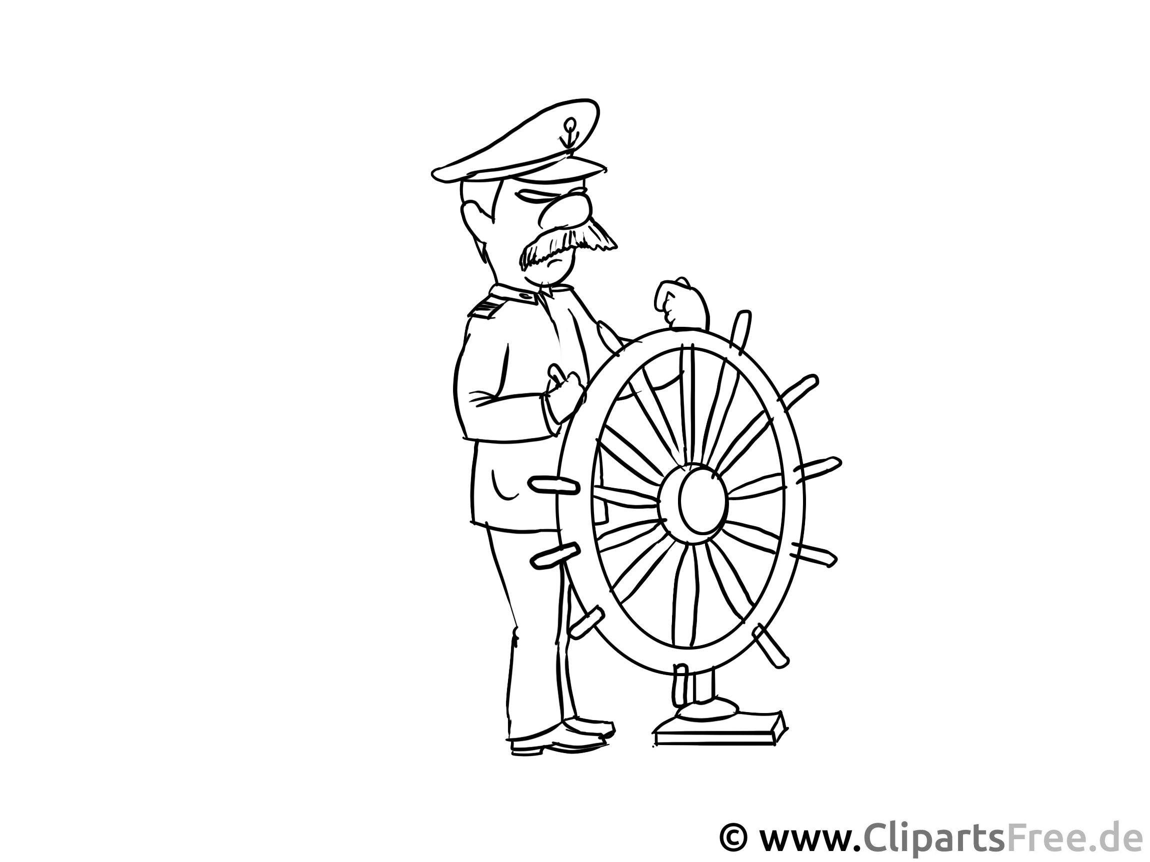 Kapitän Ausmalbild - Berufe Malvorlagen für Kinder kostenlos