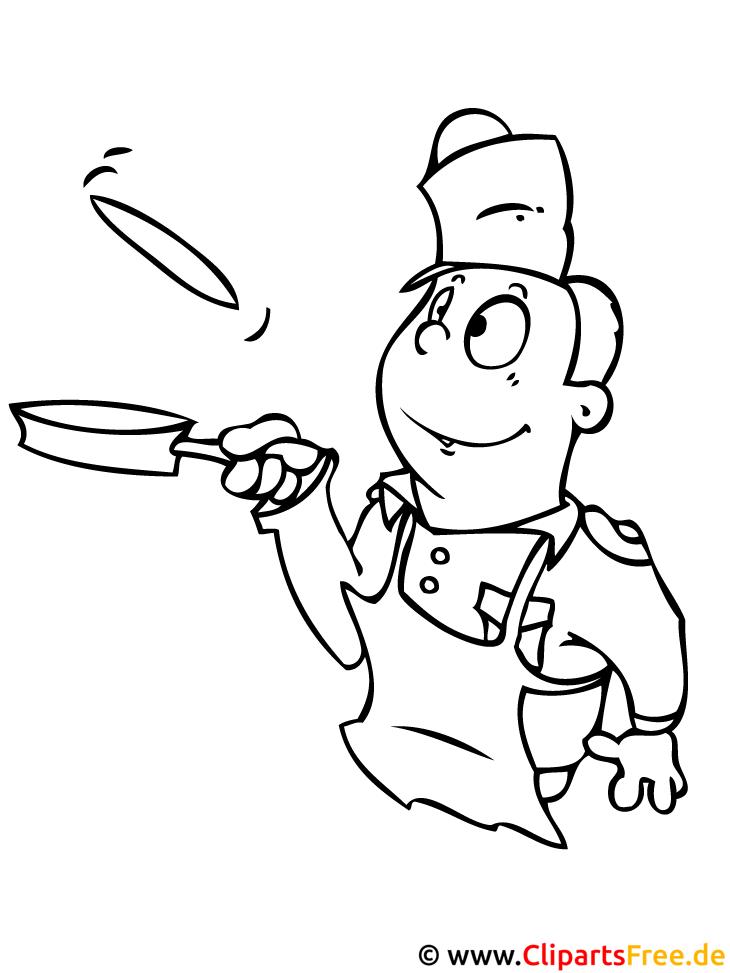 Koch Cartoon Malvorlage - kostenlose Malvorlagen fuer Kinder