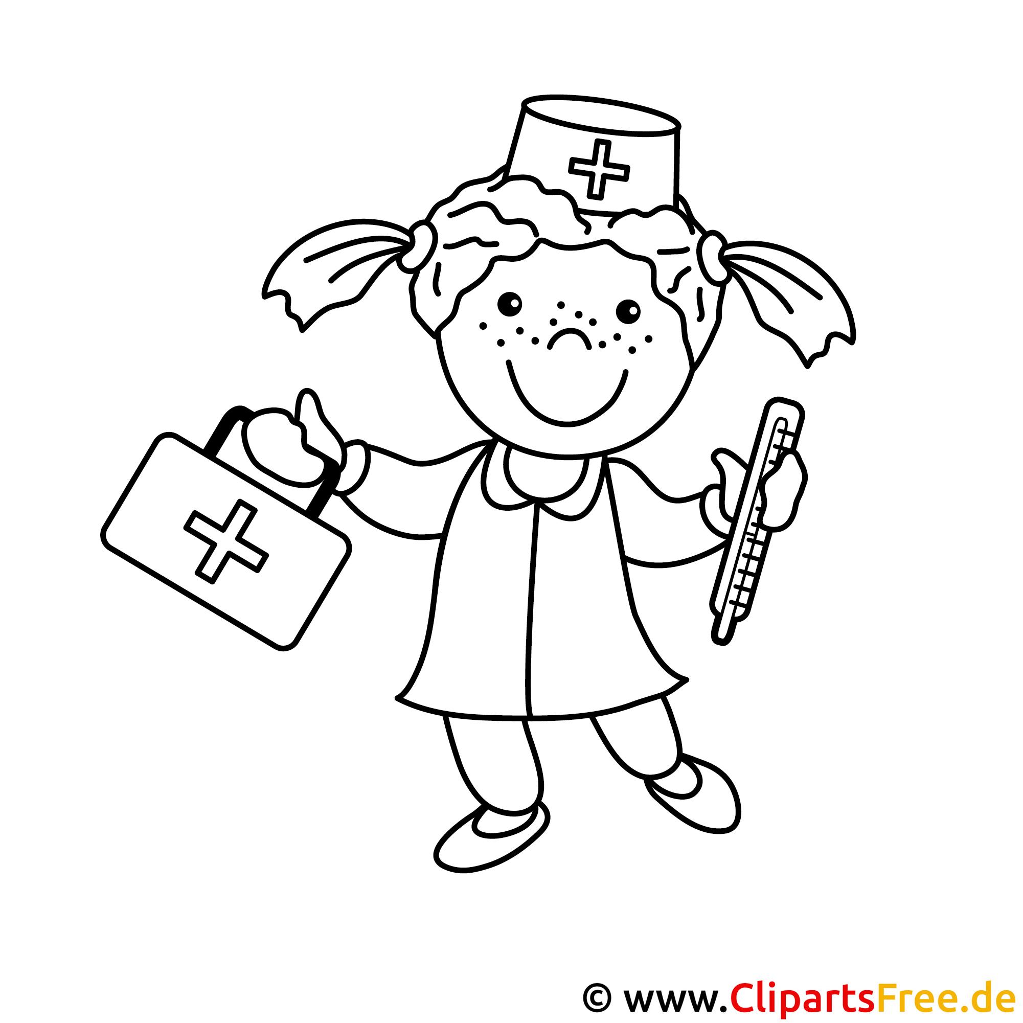 Krankenschwester Bild zum Ausmalen, Malvorlage
