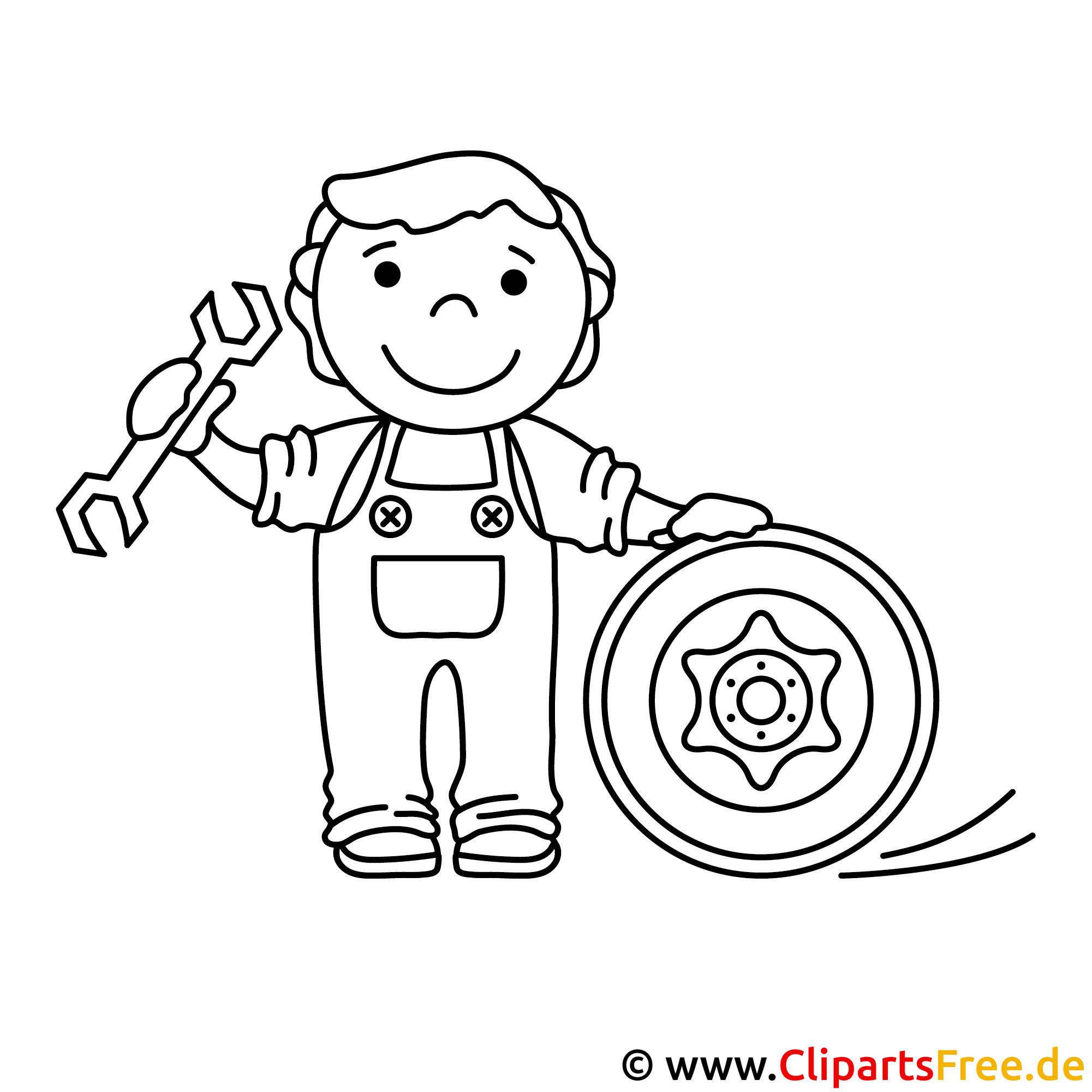 Mechaniker Bild zum Ausmalen, Malvorlage