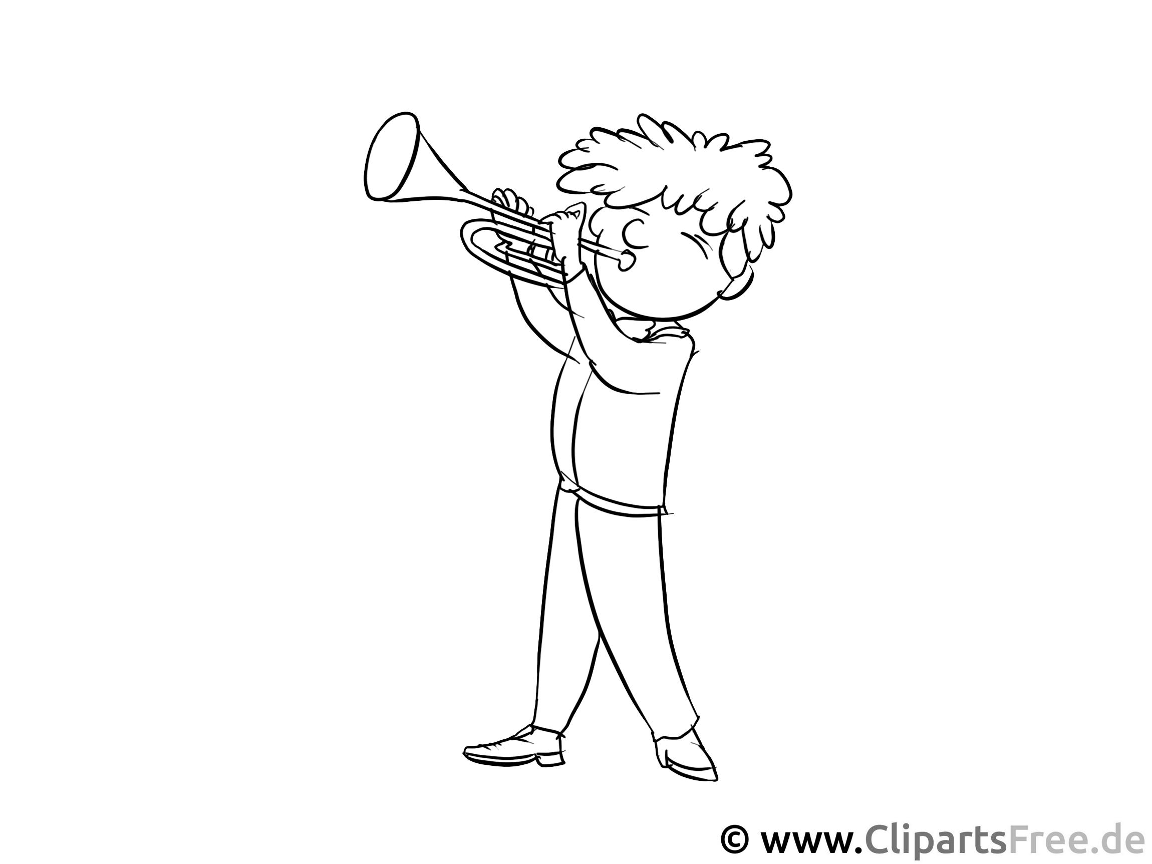 Musiker, Trompete Malvorlage - Berufe Ausmalbilder für den Unterricht