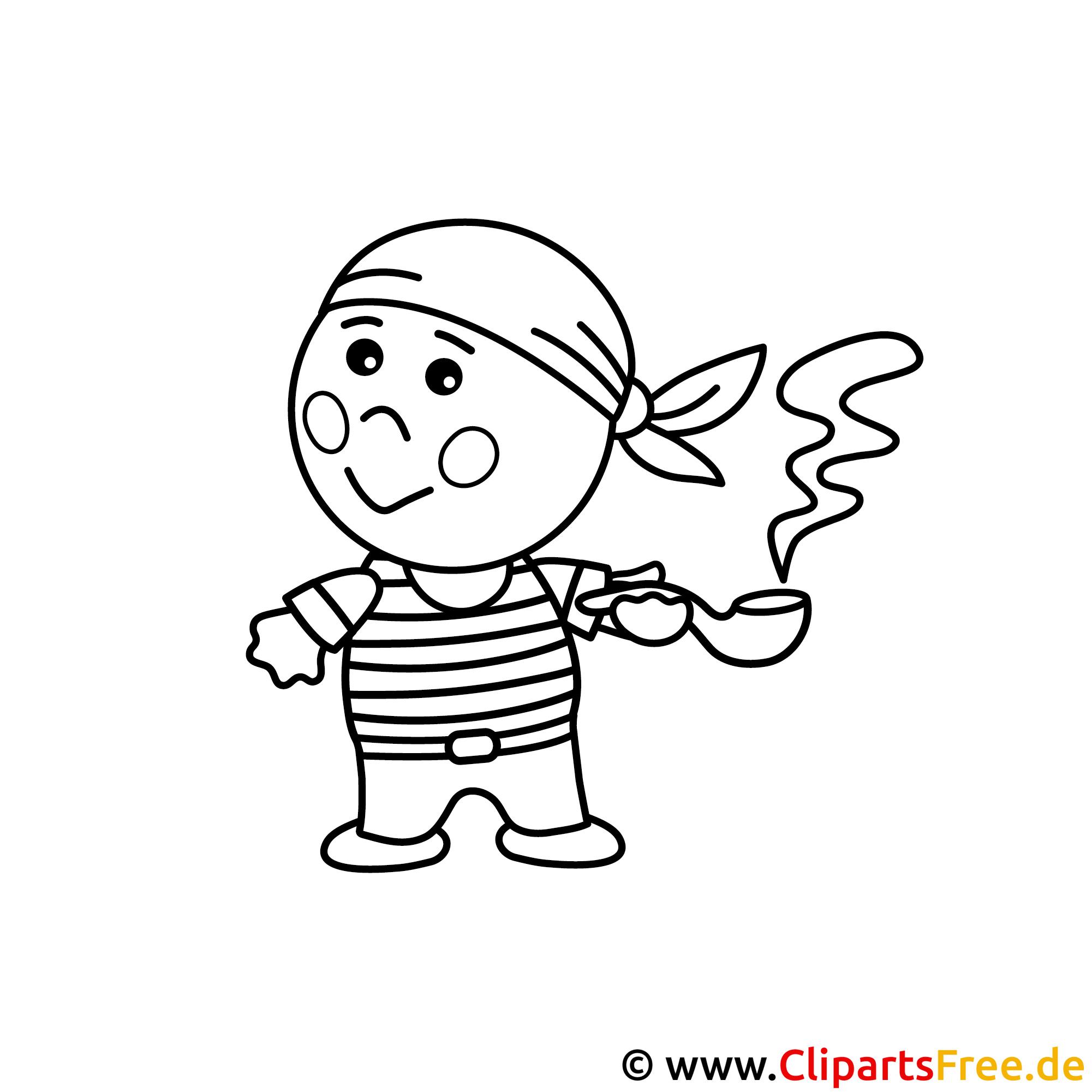 Pirat Bild zum Ausmalen, Malvorlage