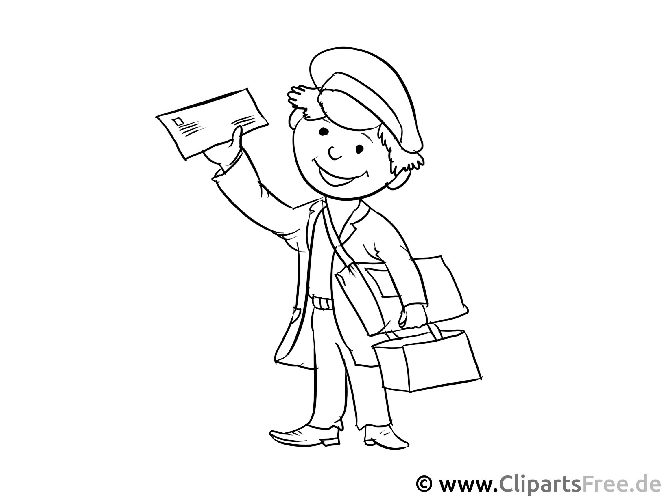 Postträger Malvorlage - Arbeitsblätter und Malvorlagen Berufe