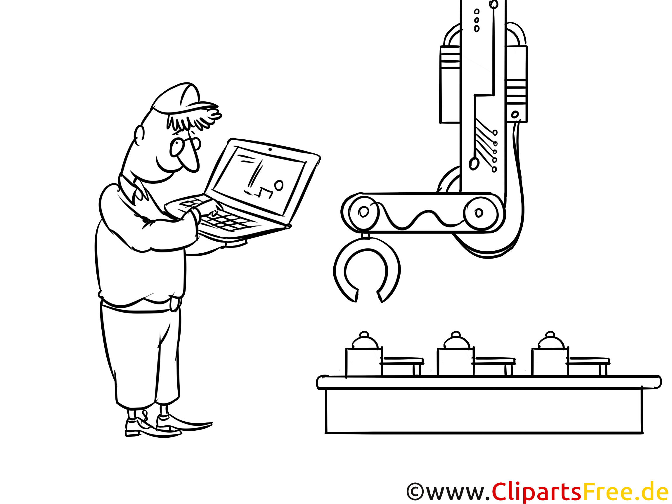 Fabrik, Werk, Band Bild, Illustration, Clipart schwarz-weiß zum Ausmalen