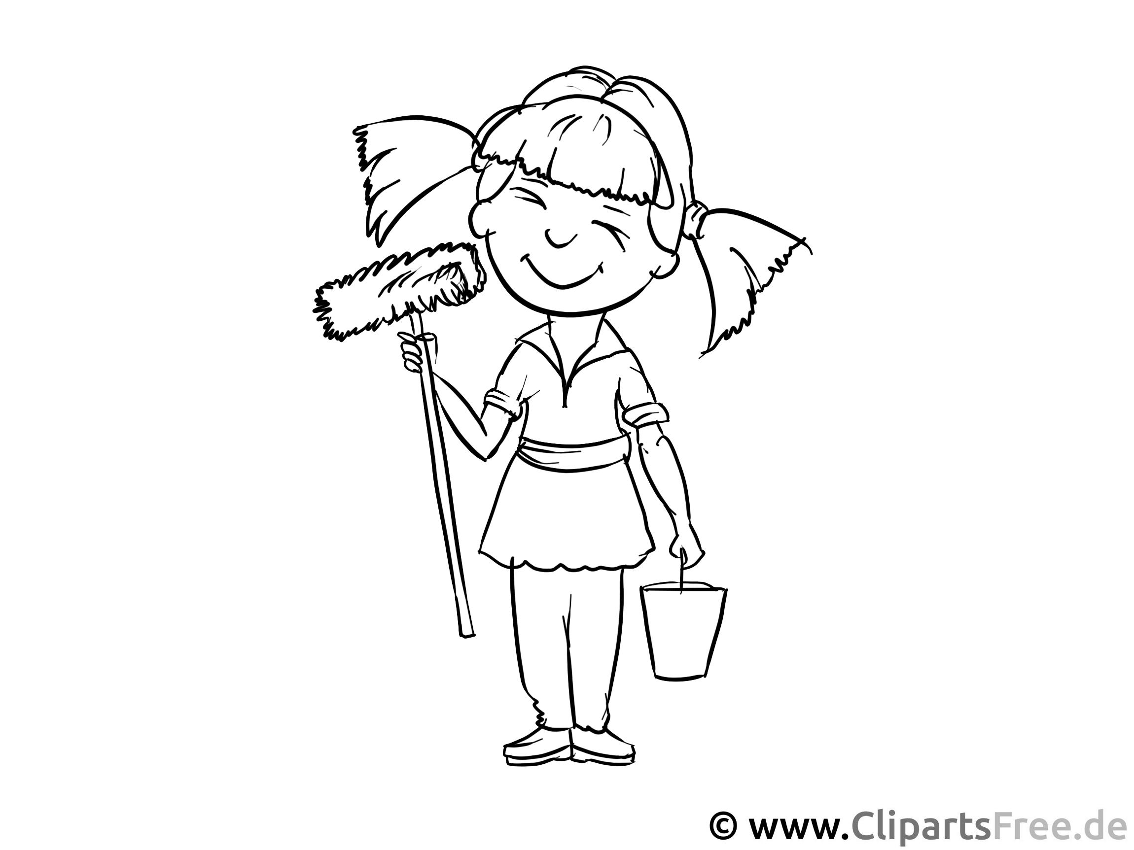 Putzfrau, Putzen - Malvorlagen Menschen und Berufe