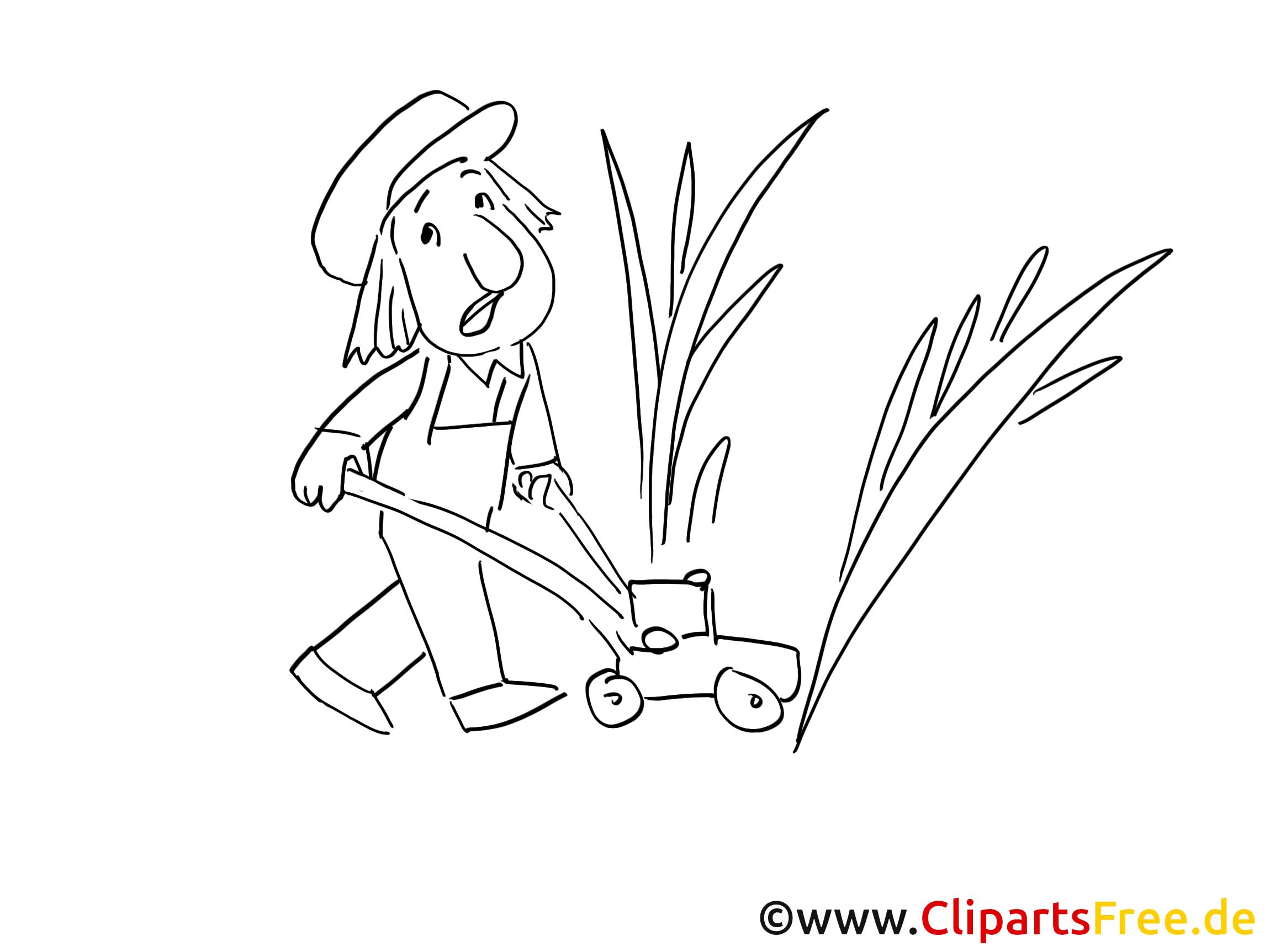 Rasen mähen Ausmalbild zum Drucken und Ausmalen